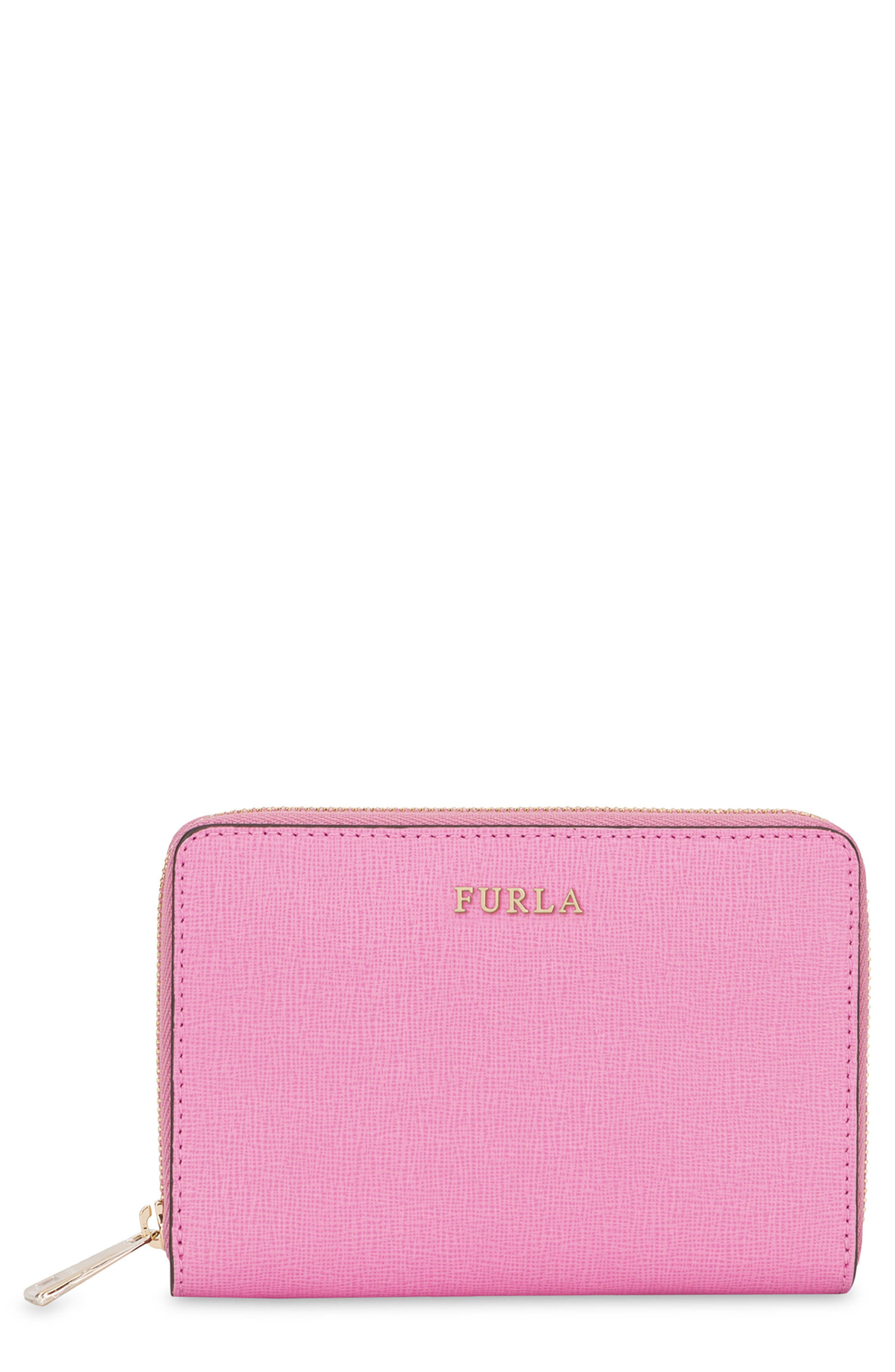 Medium Babylon Saffiano Leather Zip Around Wallet,                         Main,                         color, Orchidea