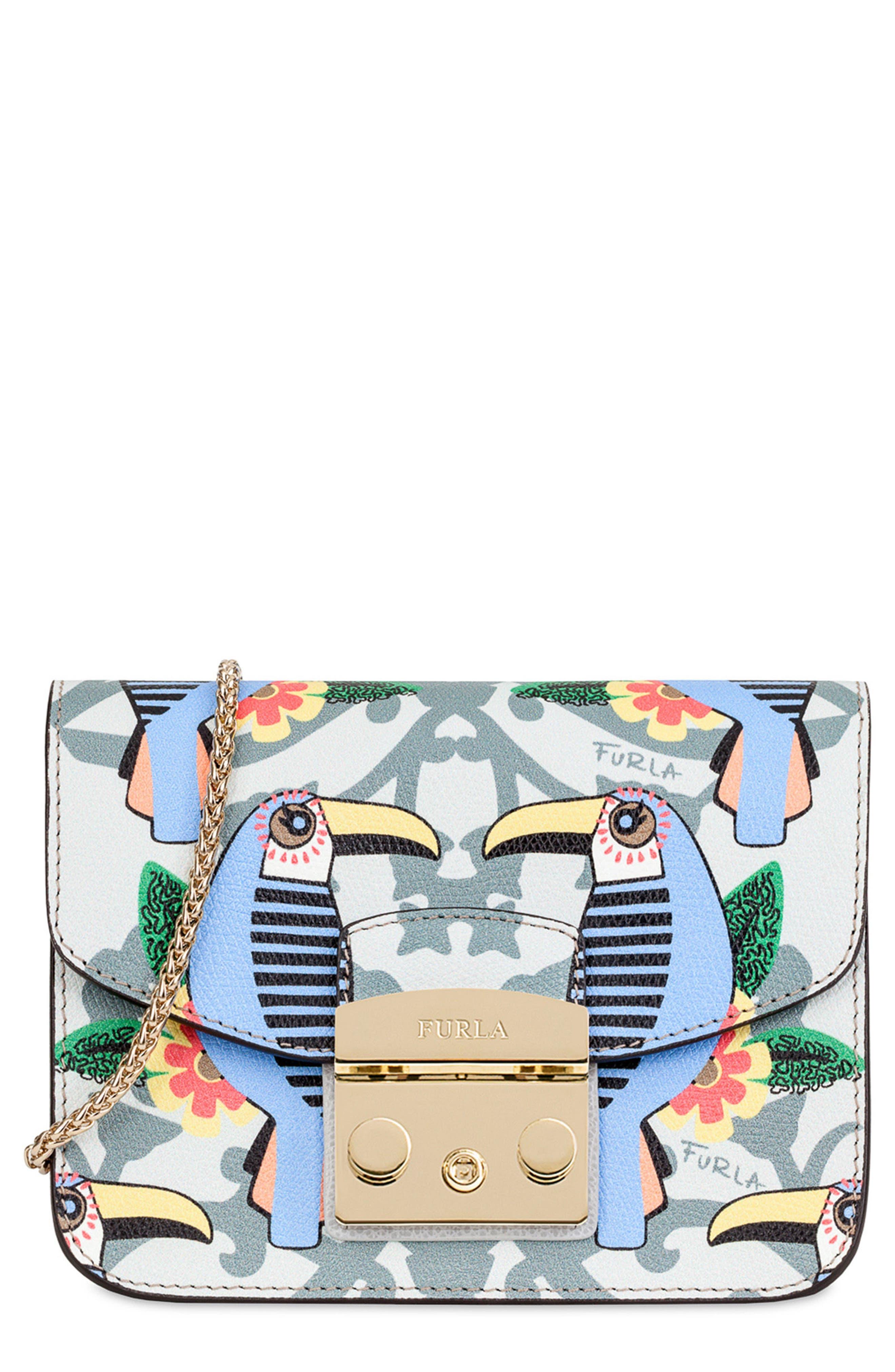 Alternate Image 1 Selected - Furla Mini Metropolis Print Leather Crossbody Bag