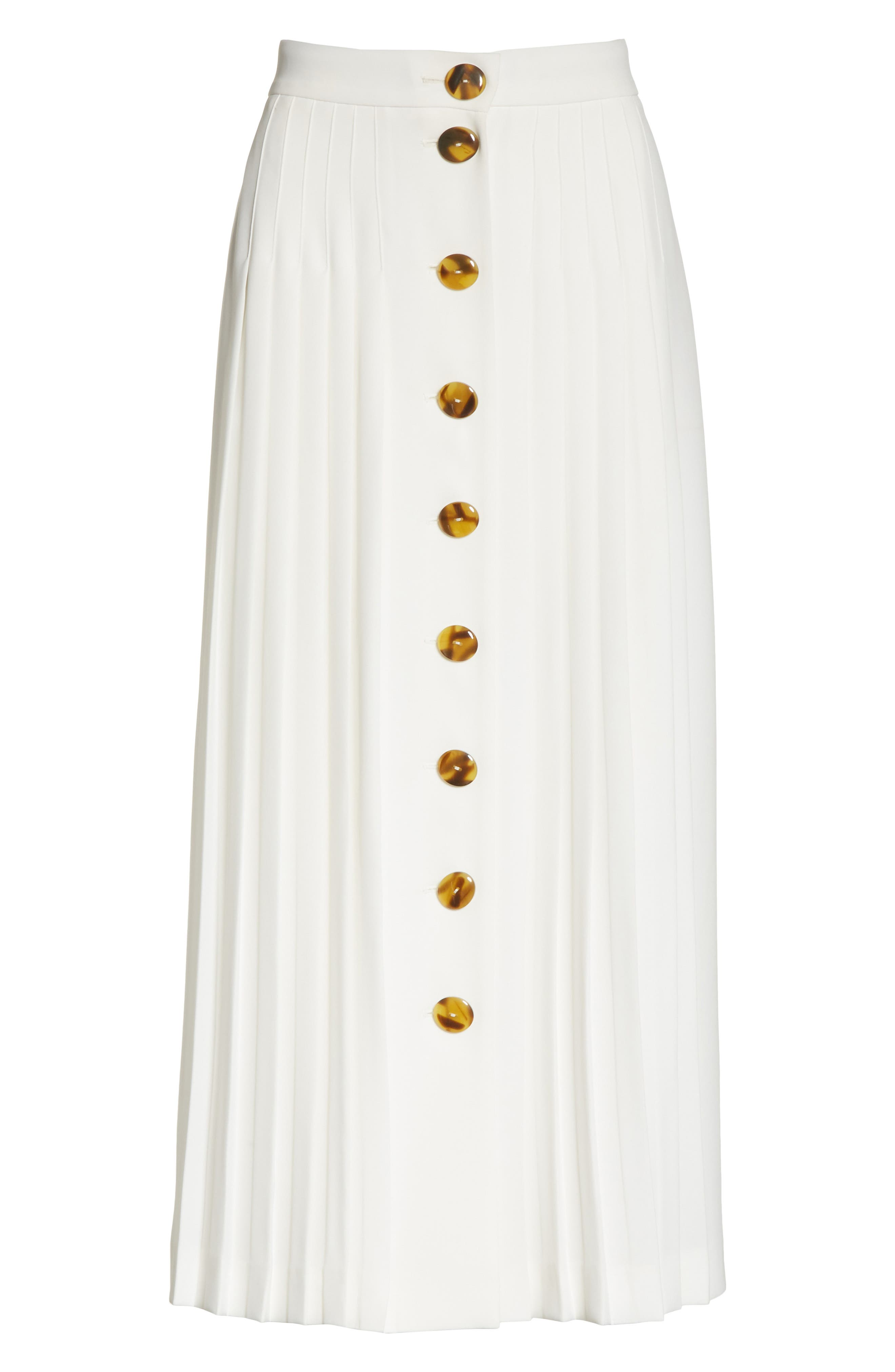 Pleated Button Skirt,                             Alternate thumbnail 6, color,                             White