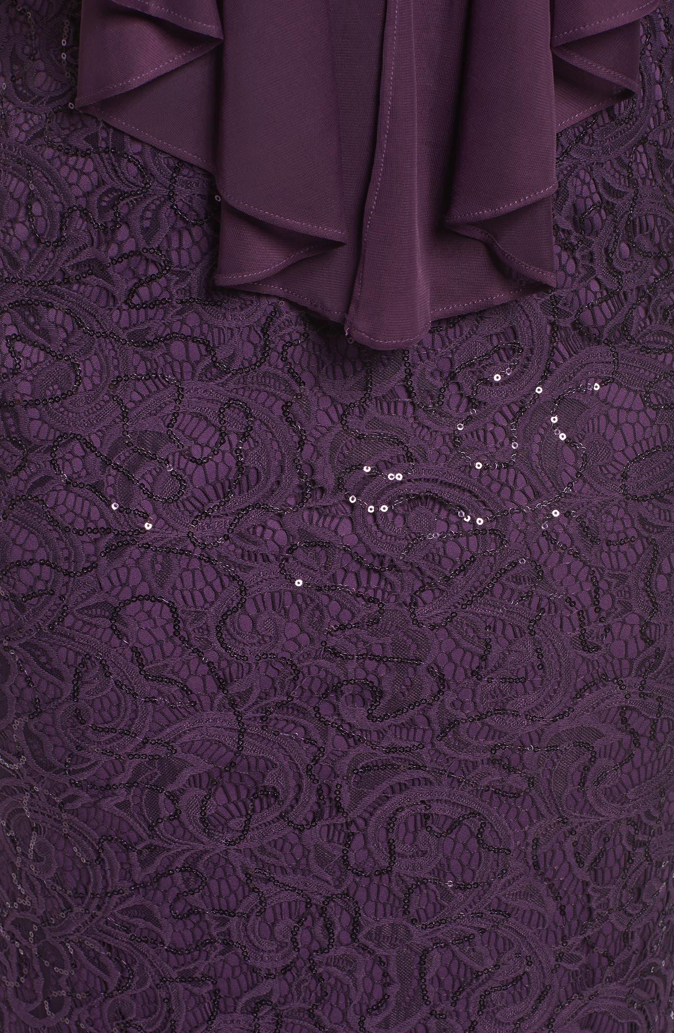 Alternate Image 5  - Marina Capelet Sequin Lace A-Line Gown (Plus Size)