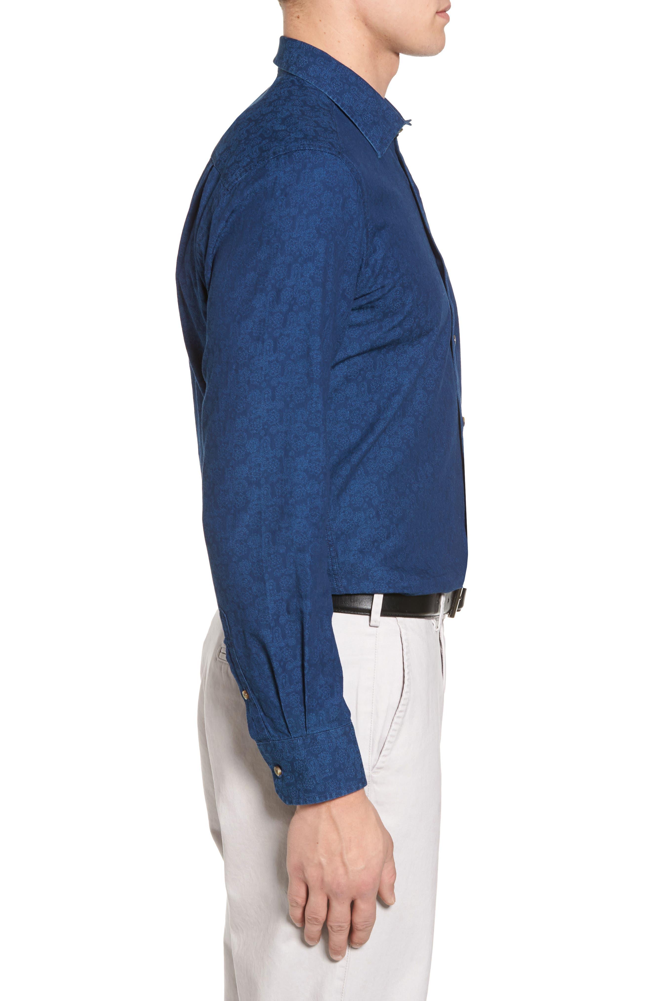 Paisley Sport Shirt,                             Alternate thumbnail 3, color,                             Navy