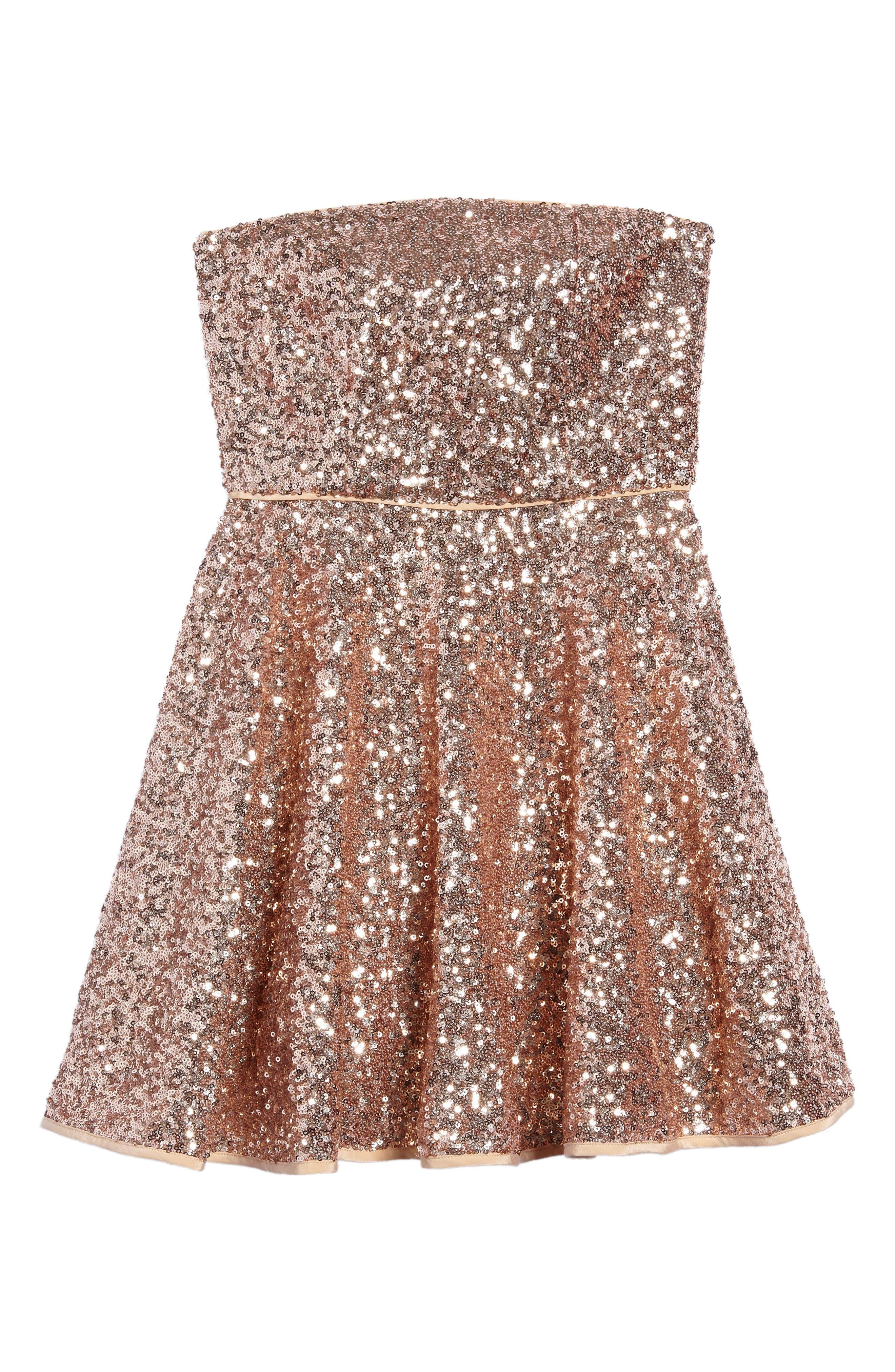 Ellie Sequin Strapless Dress,                         Main,                         color, Rose Gold