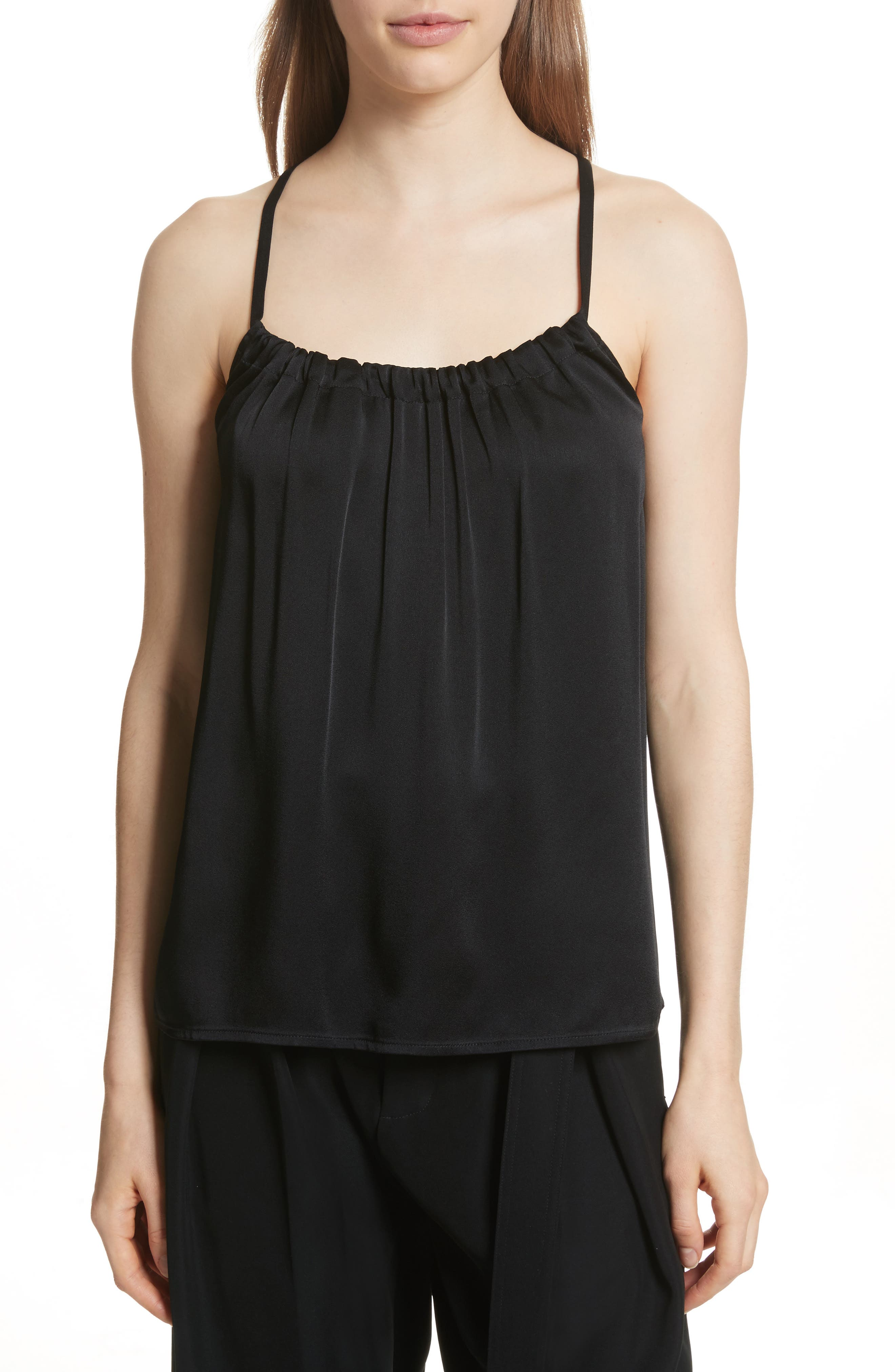 Gathered Neck Camisole,                             Main thumbnail 1, color,                             Black