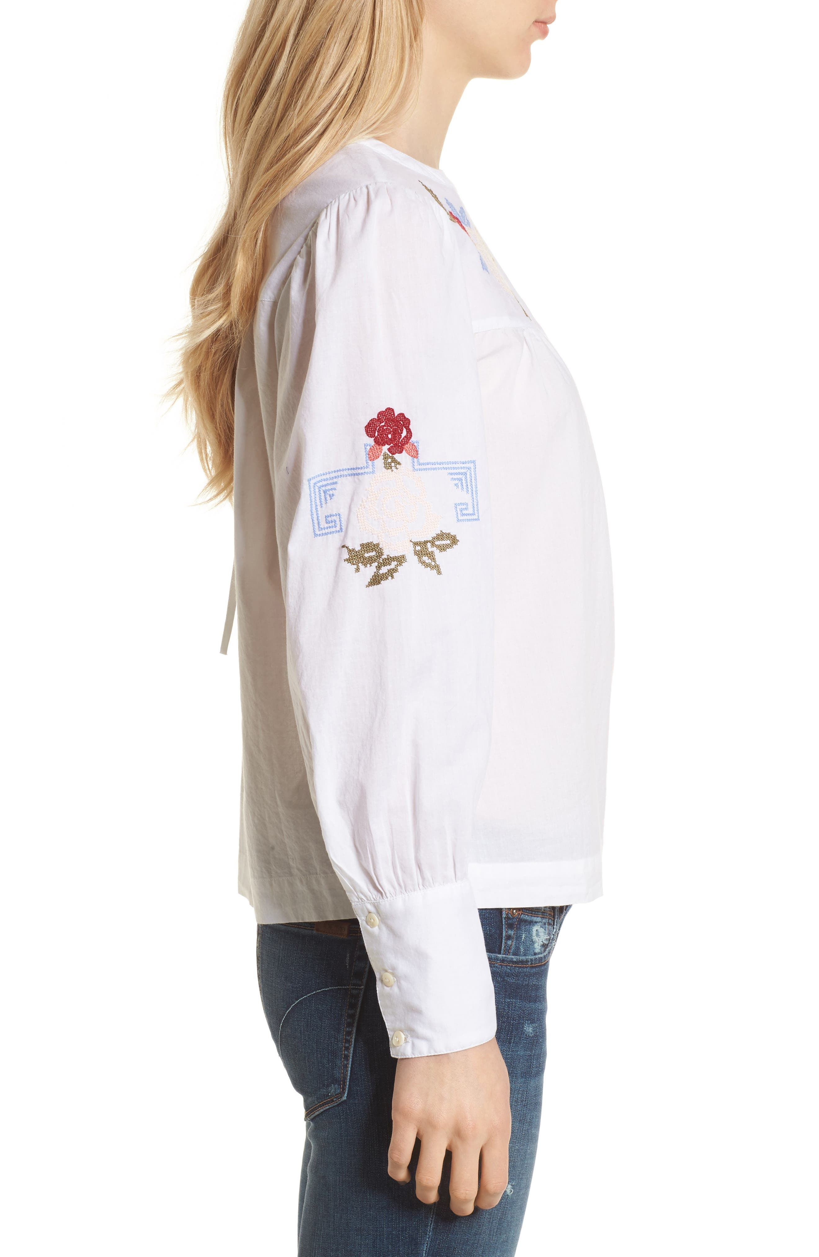 Embroidered Top,                             Alternate thumbnail 3, color,                             White Combo