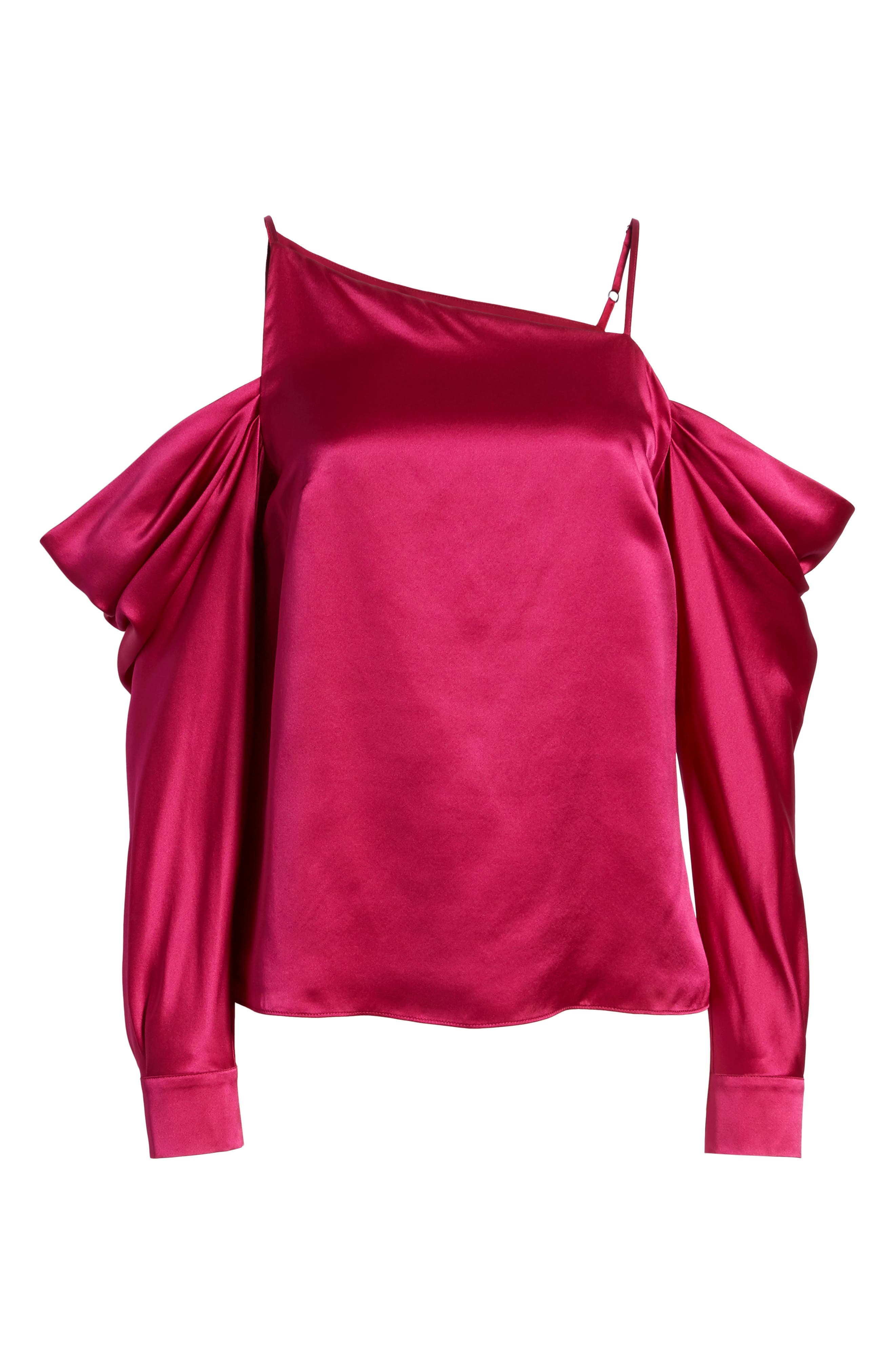 Amelia Asymmetrical Silk Blouse,                             Alternate thumbnail 6, color,                             Beetroot