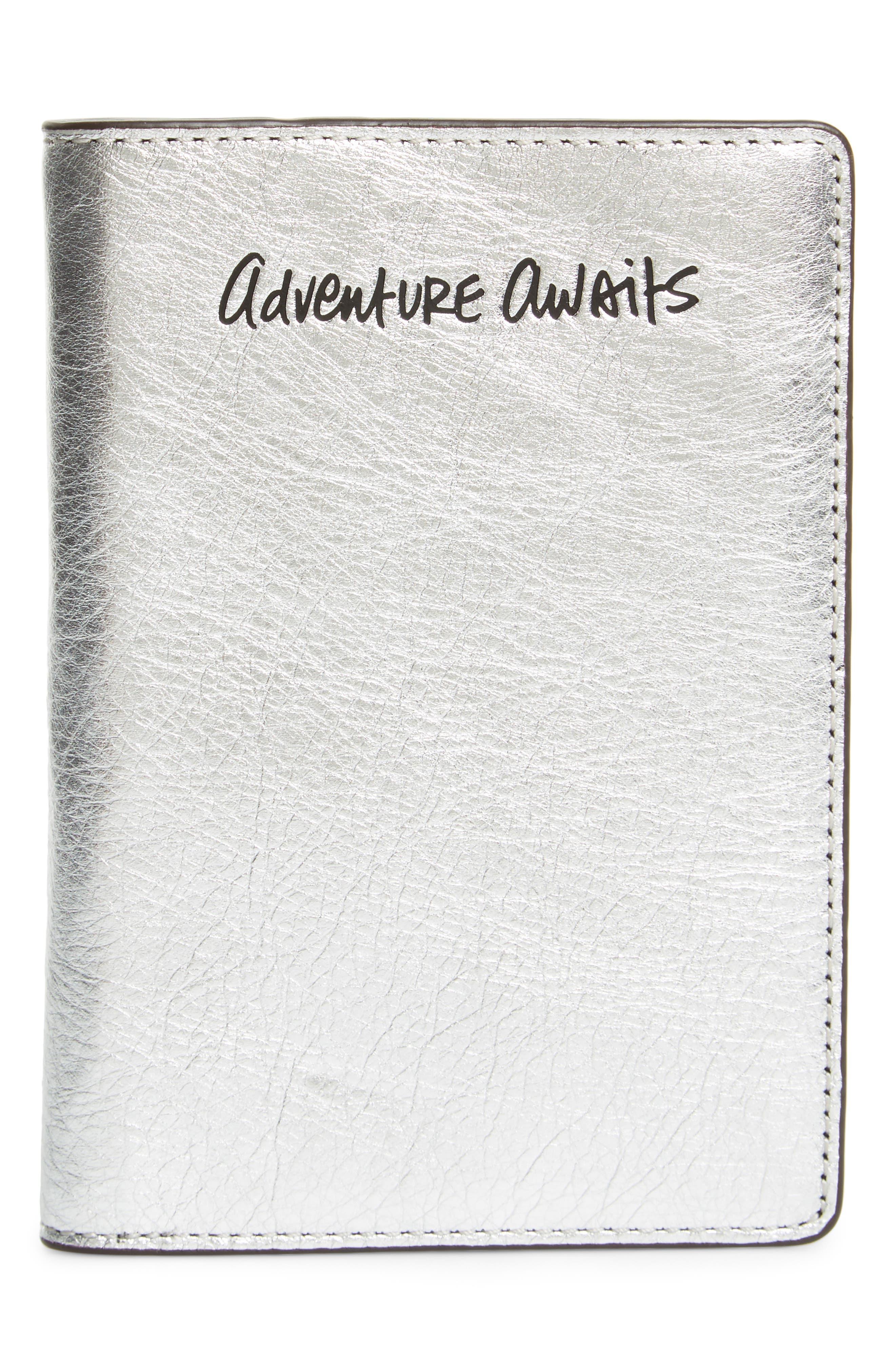 Adventure Awaits Passport Case,                         Main,                         color, Silver