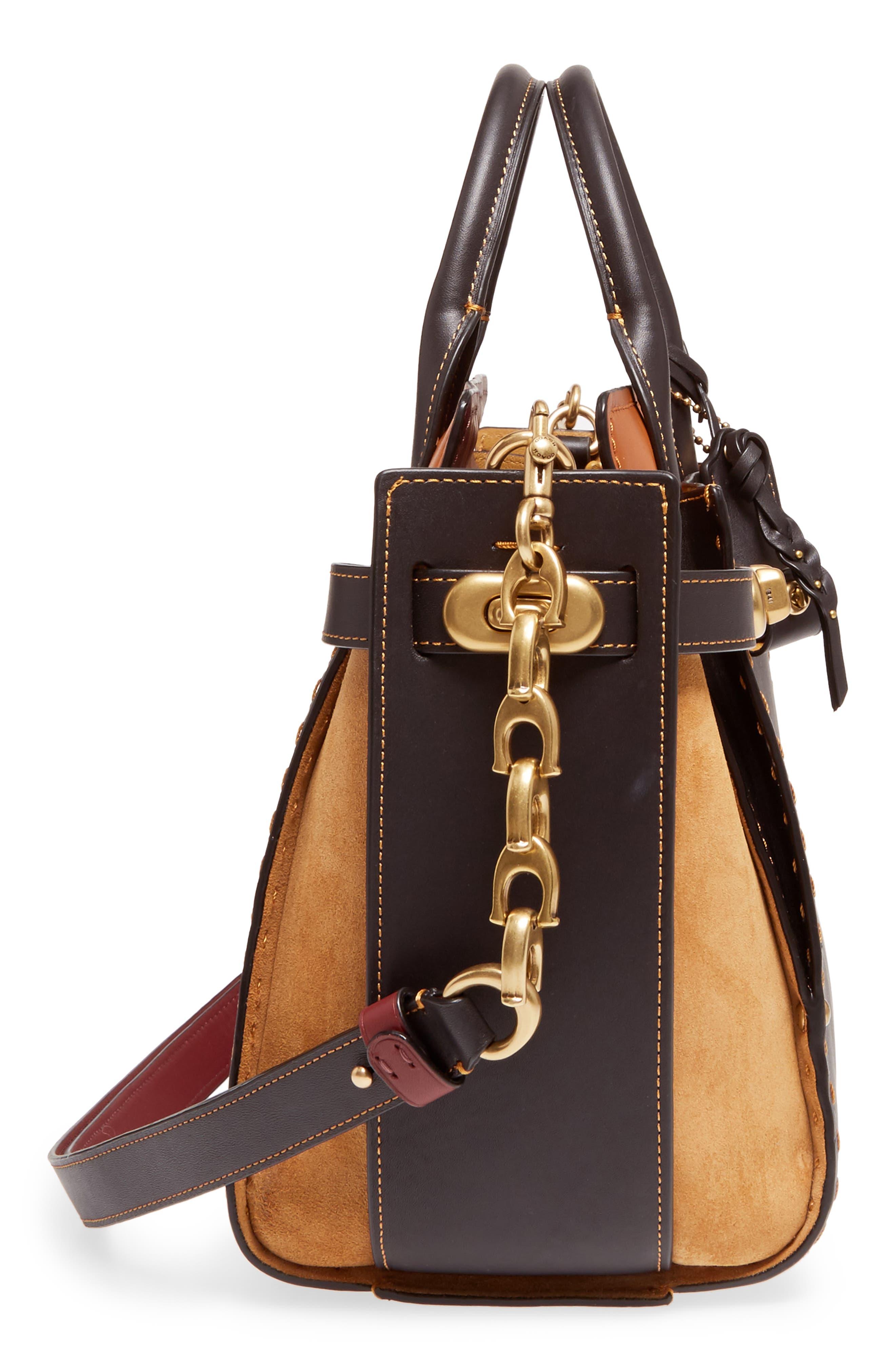 Double Swagger Leather Satchel,                             Alternate thumbnail 5, color,                             Black Multi