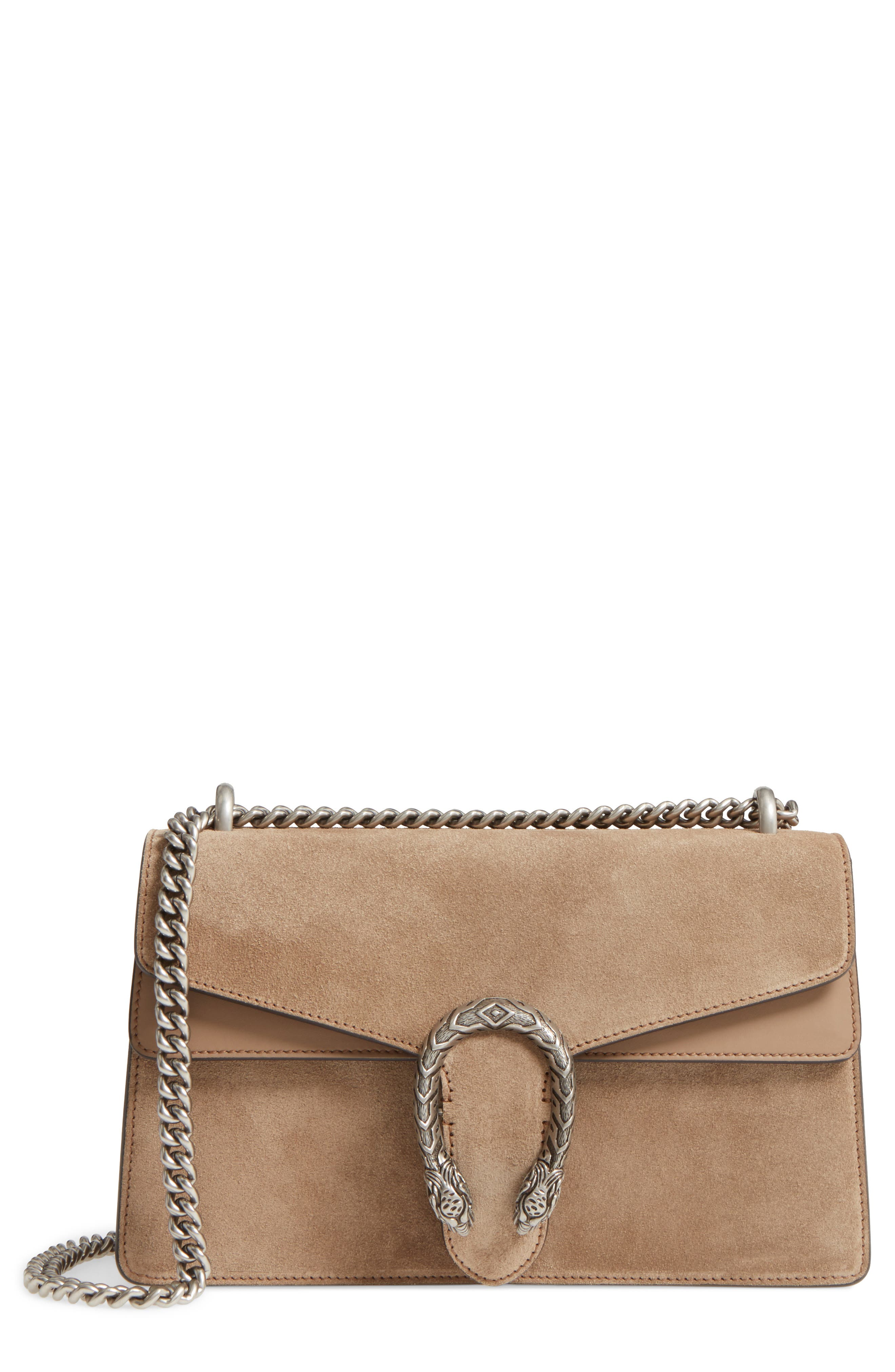 Small Dionysus Suede Shoulder Bag,                             Main thumbnail 1, color,                             Taupe