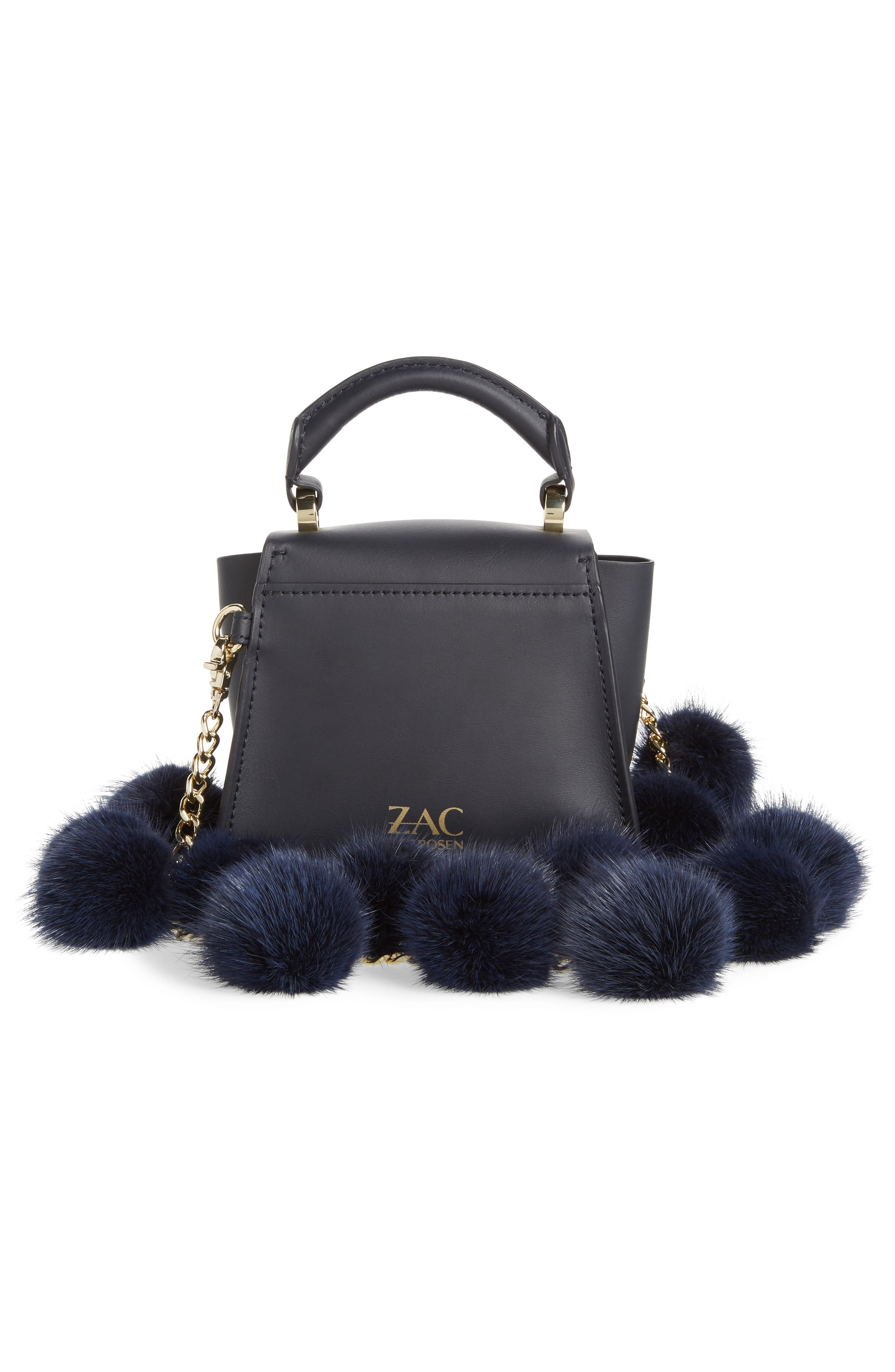 Eartha Iconic Leather Satchel with Genuine Mink Fur Strap,                             Alternate thumbnail 3, color,                             Navy