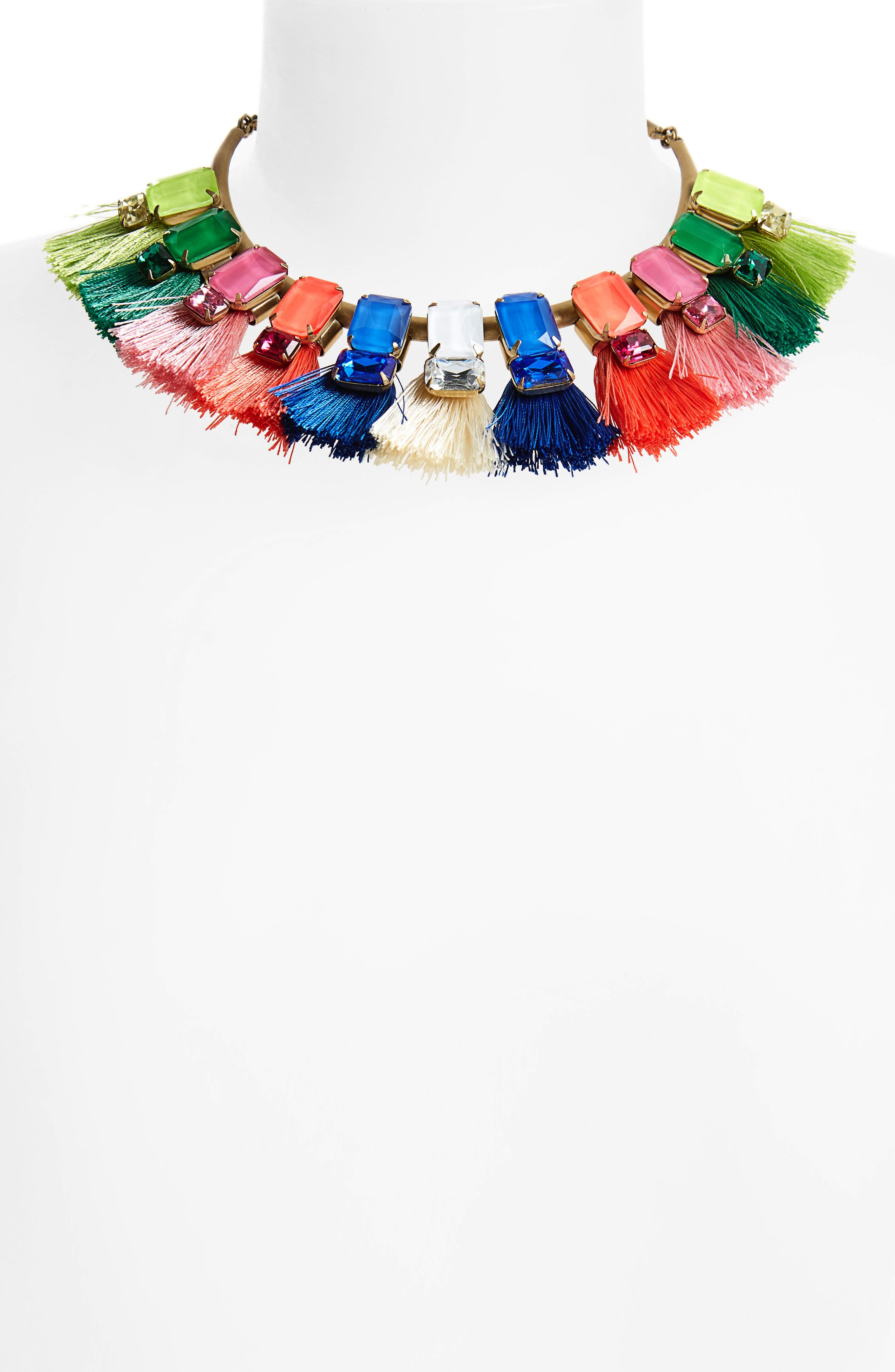 Scarlet Tassel Collar Necklace,                             Alternate thumbnail 2, color,                             Pink Multi