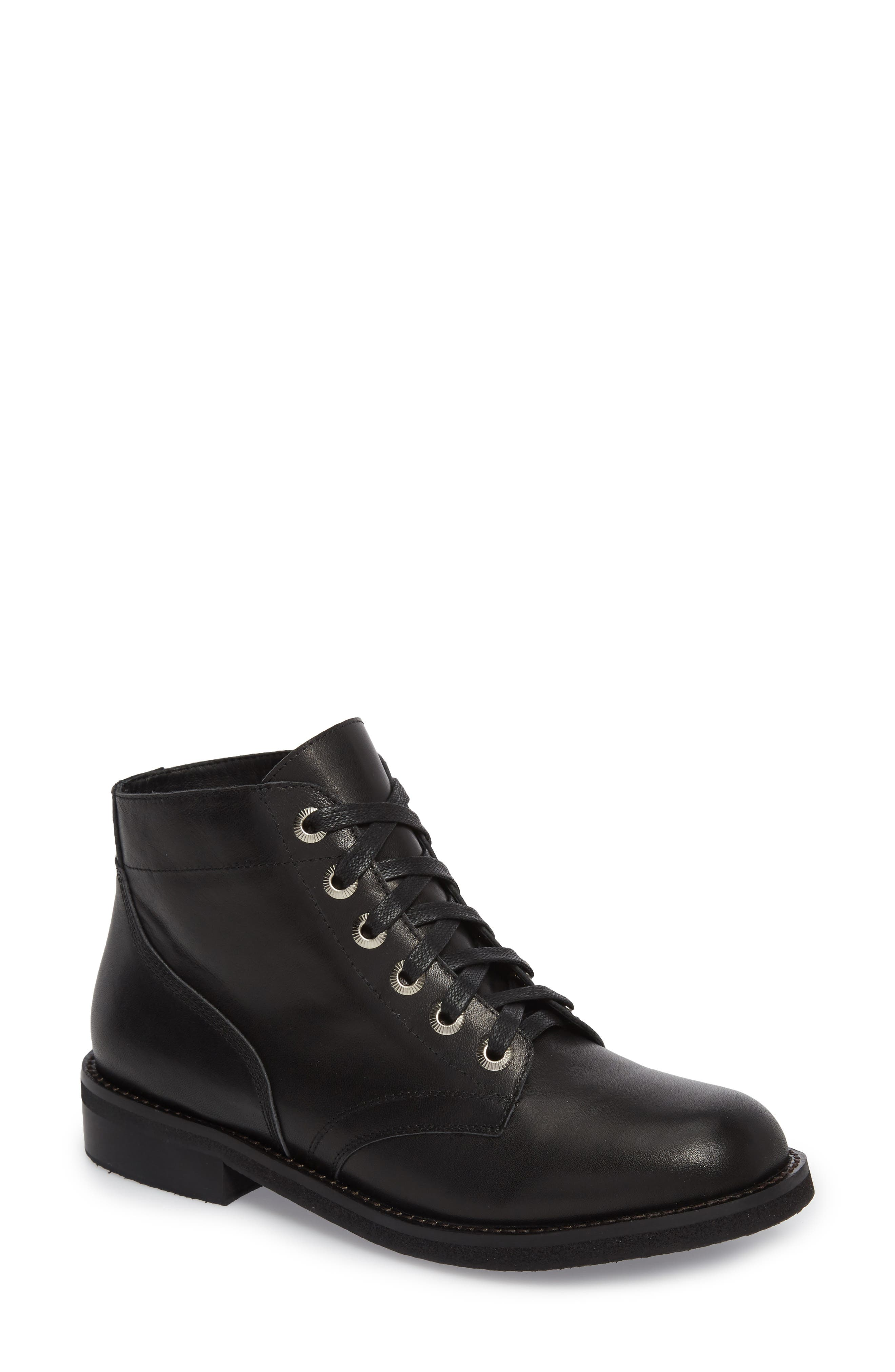 James Combat Boot,                         Main,                         color, Black Leather