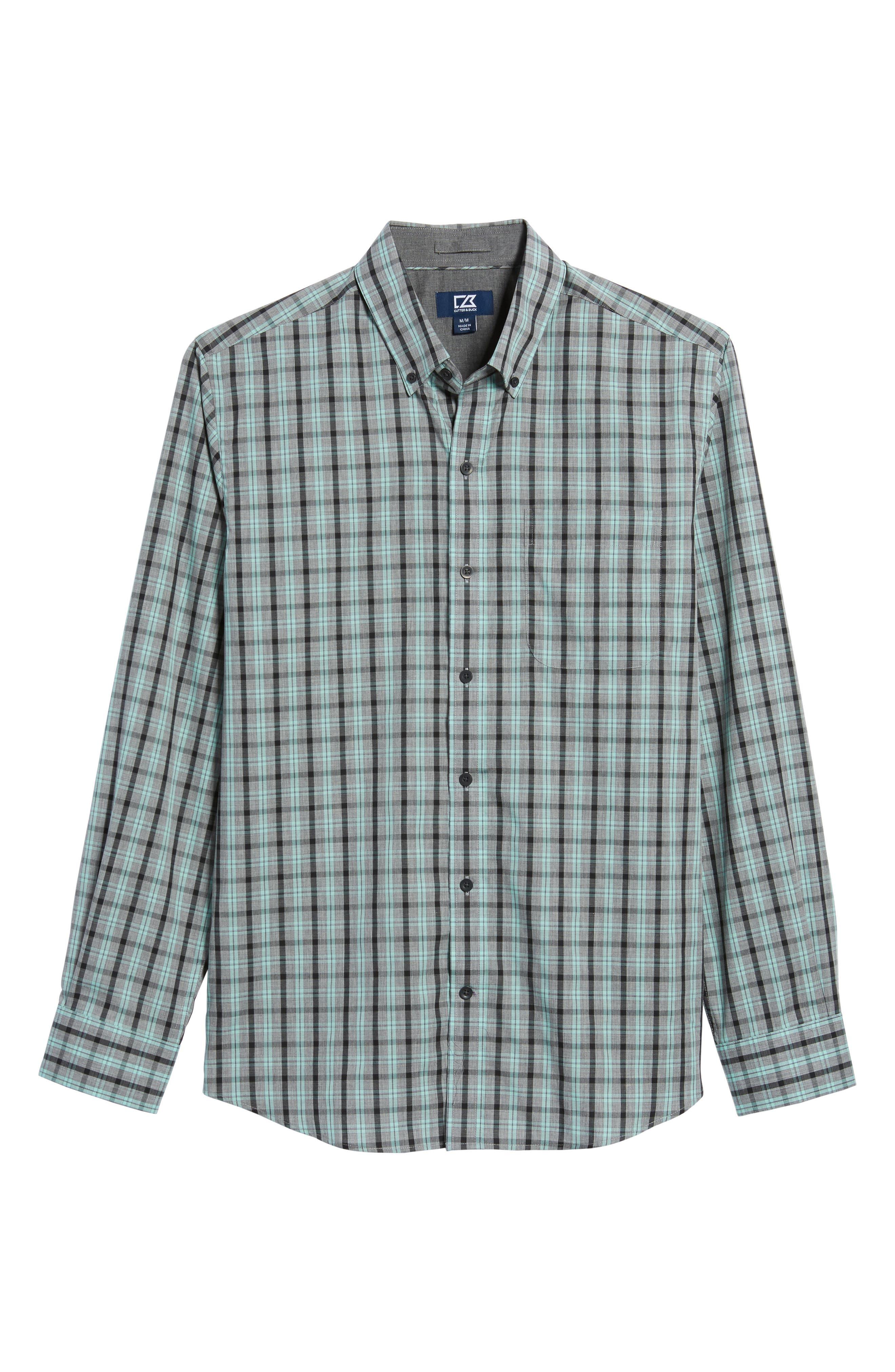 Davis Non-Iron Plaid Sport Shirt,                             Alternate thumbnail 6, color,                             Aquastone