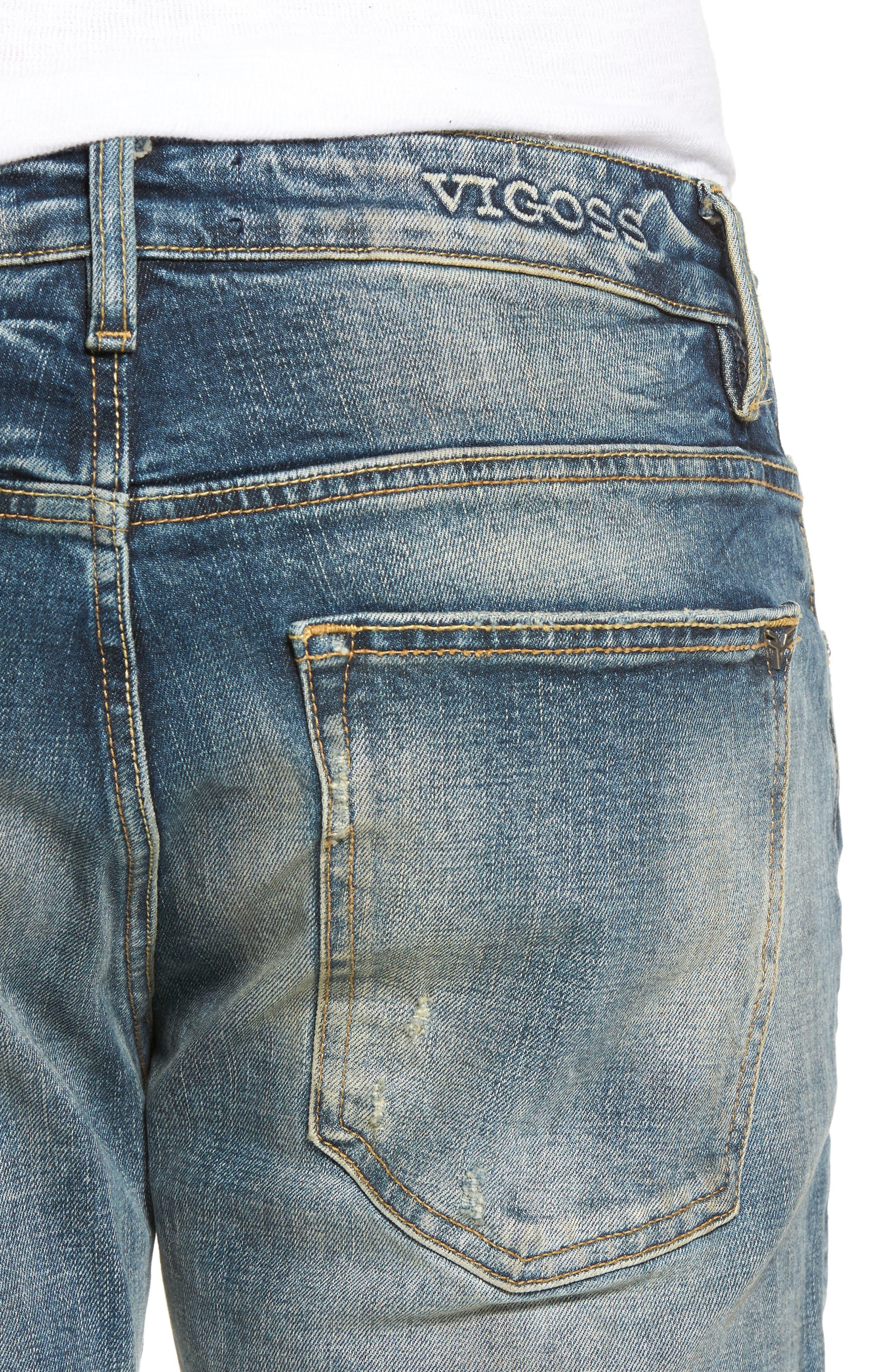 Slim Straight Leg Jeans,                             Alternate thumbnail 4, color,                             Tint Light