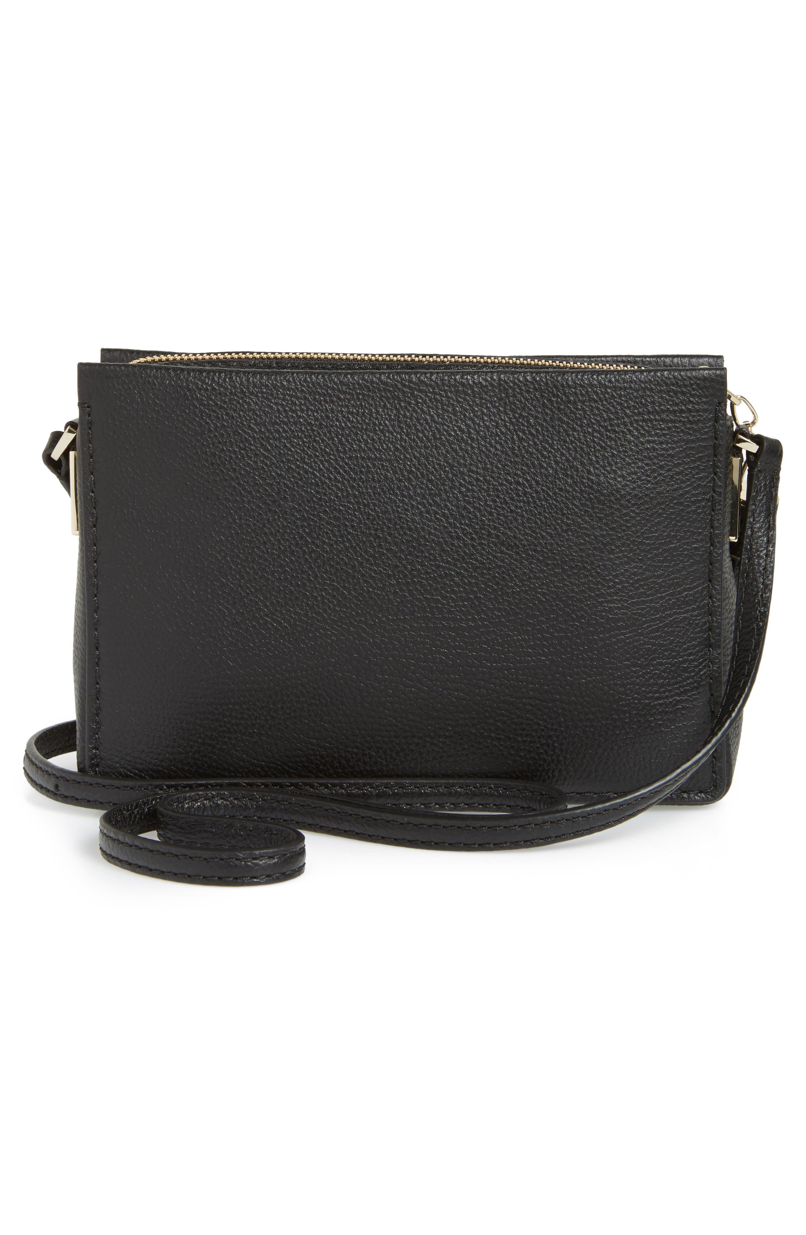 kingston drive - gillian leather crossbody bag,                             Alternate thumbnail 3, color,                             Black