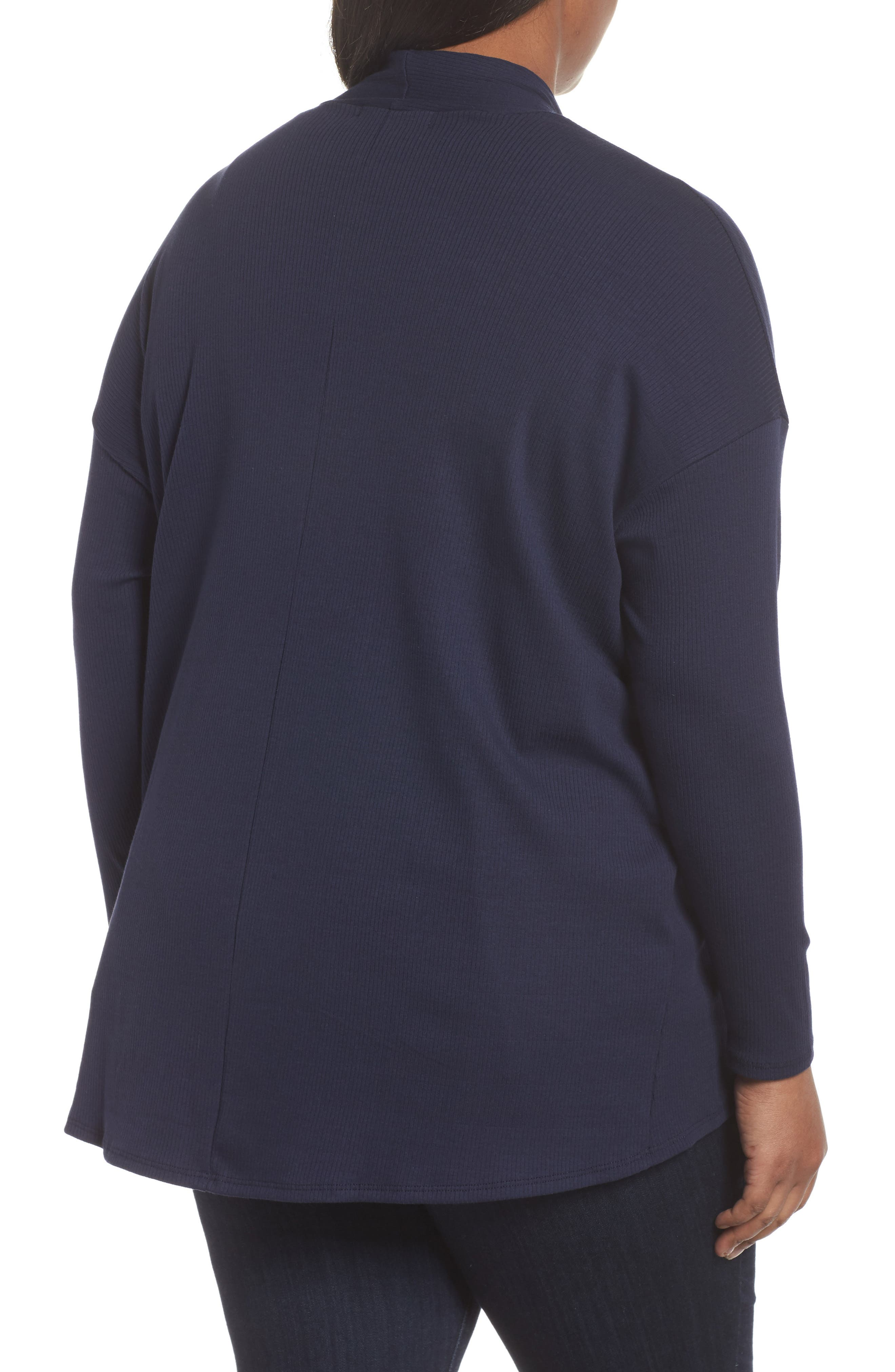 Ribbed Cocoon Cardigan,                             Alternate thumbnail 2, color,                             Navy Peacoat