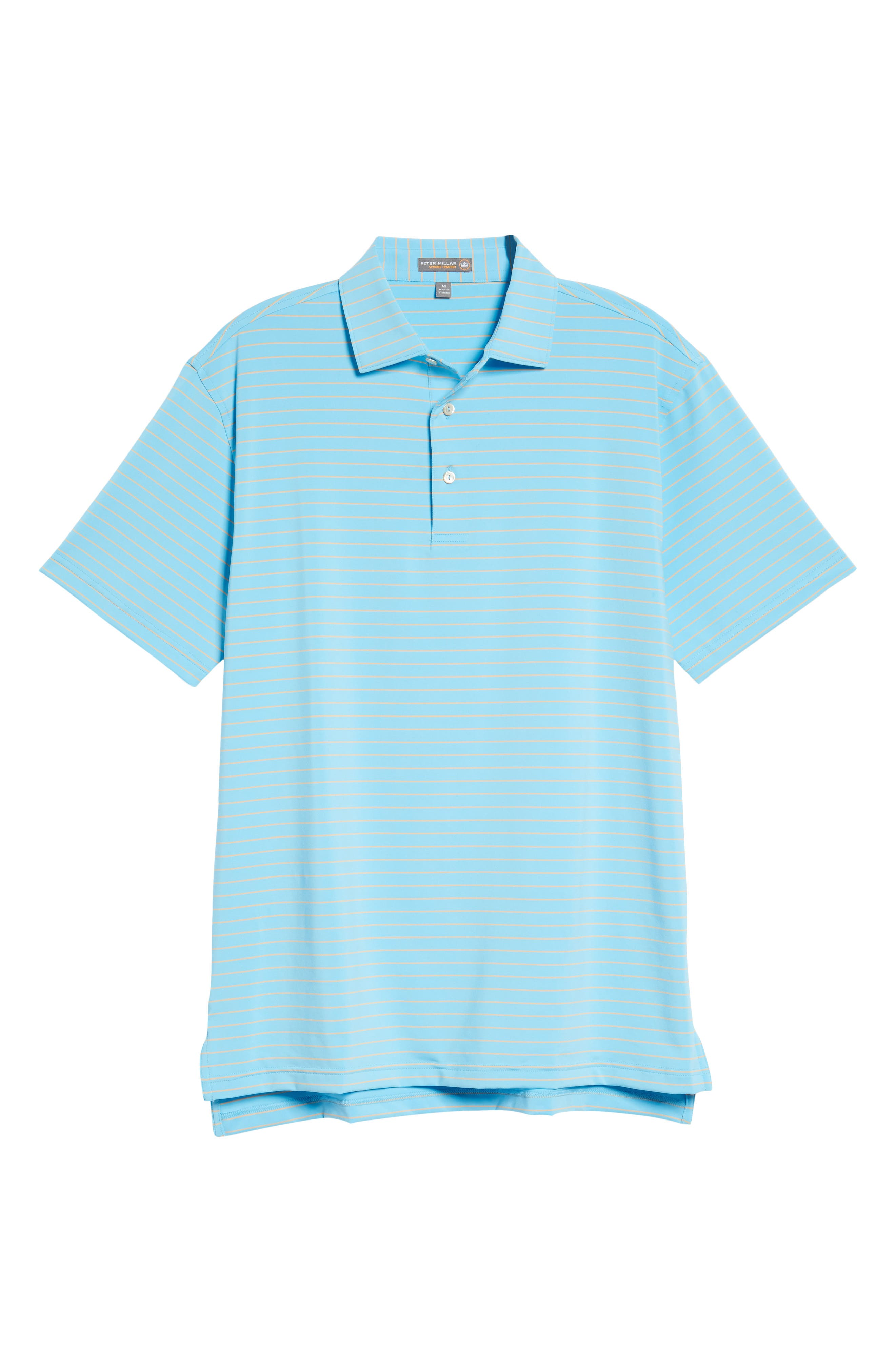 Halifax Pinstripe Stretch Jersey Polo,                             Alternate thumbnail 6, color,                             Grotto Blue