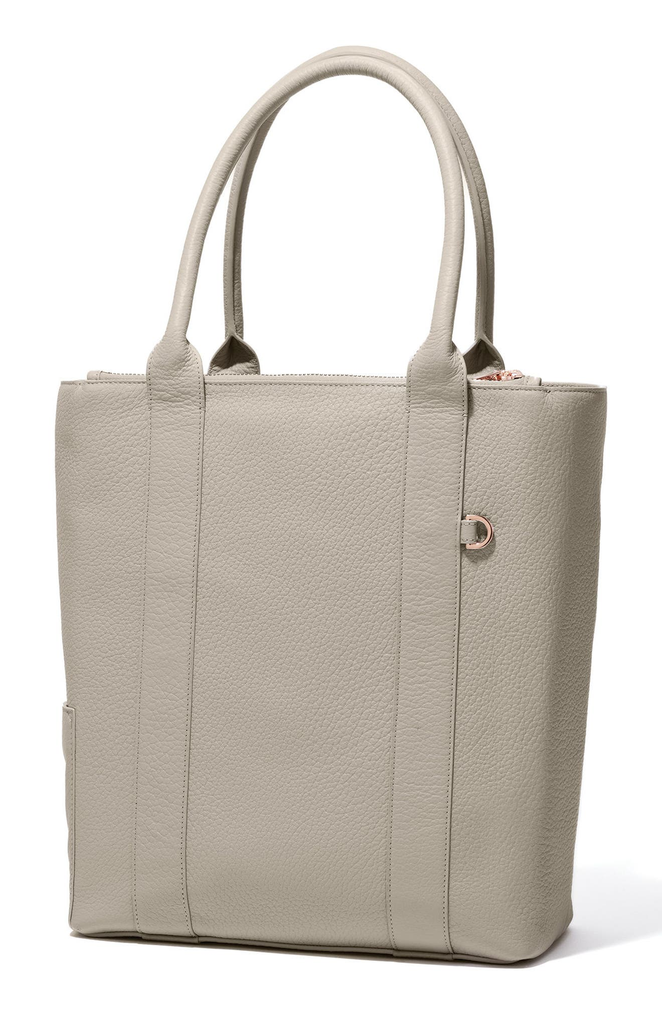Charlie Leather Tote,                             Alternate thumbnail 4, color,                             Bone
