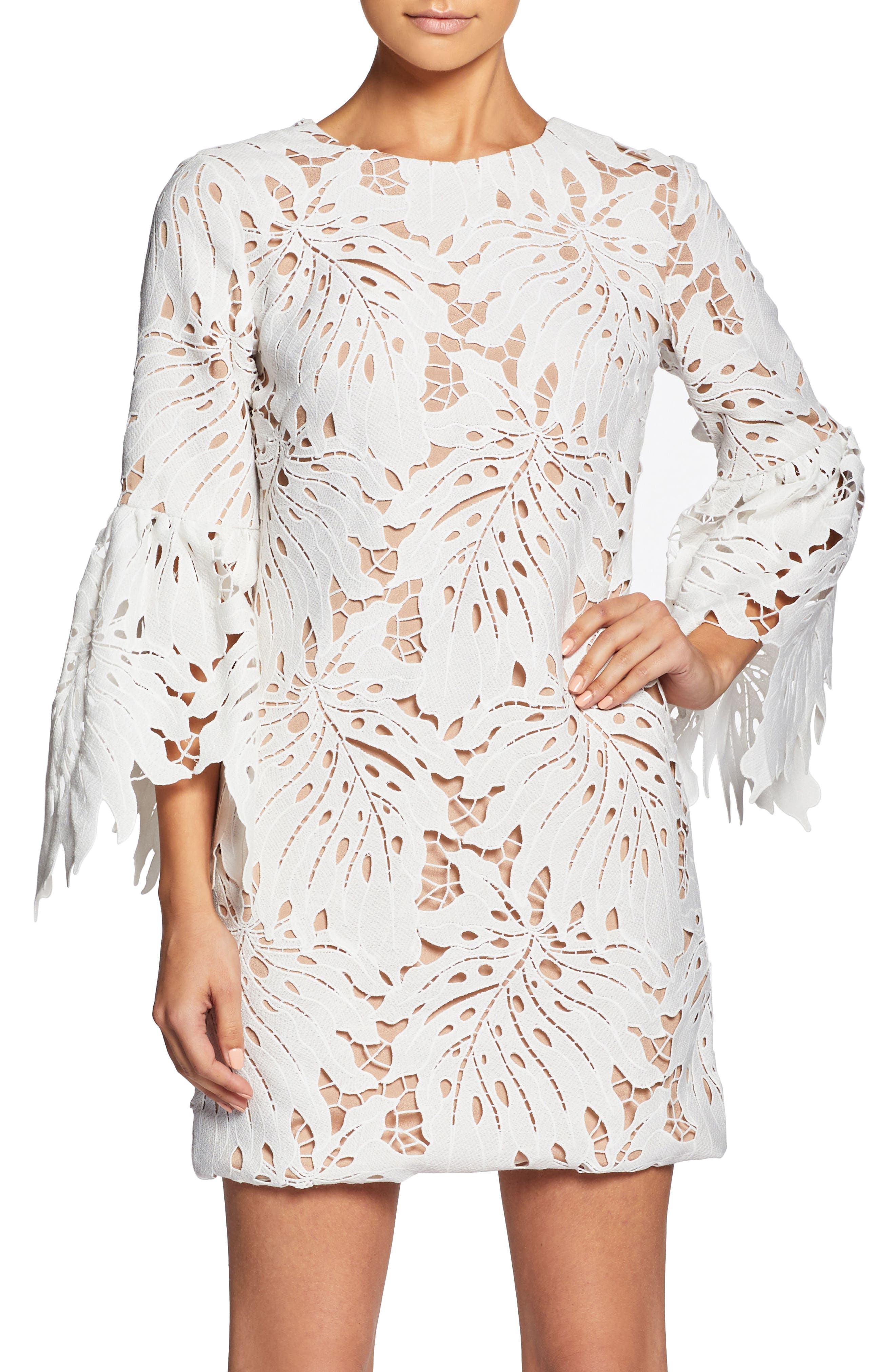 Dylan Crochet Shift Dress,                         Main,                         color, White