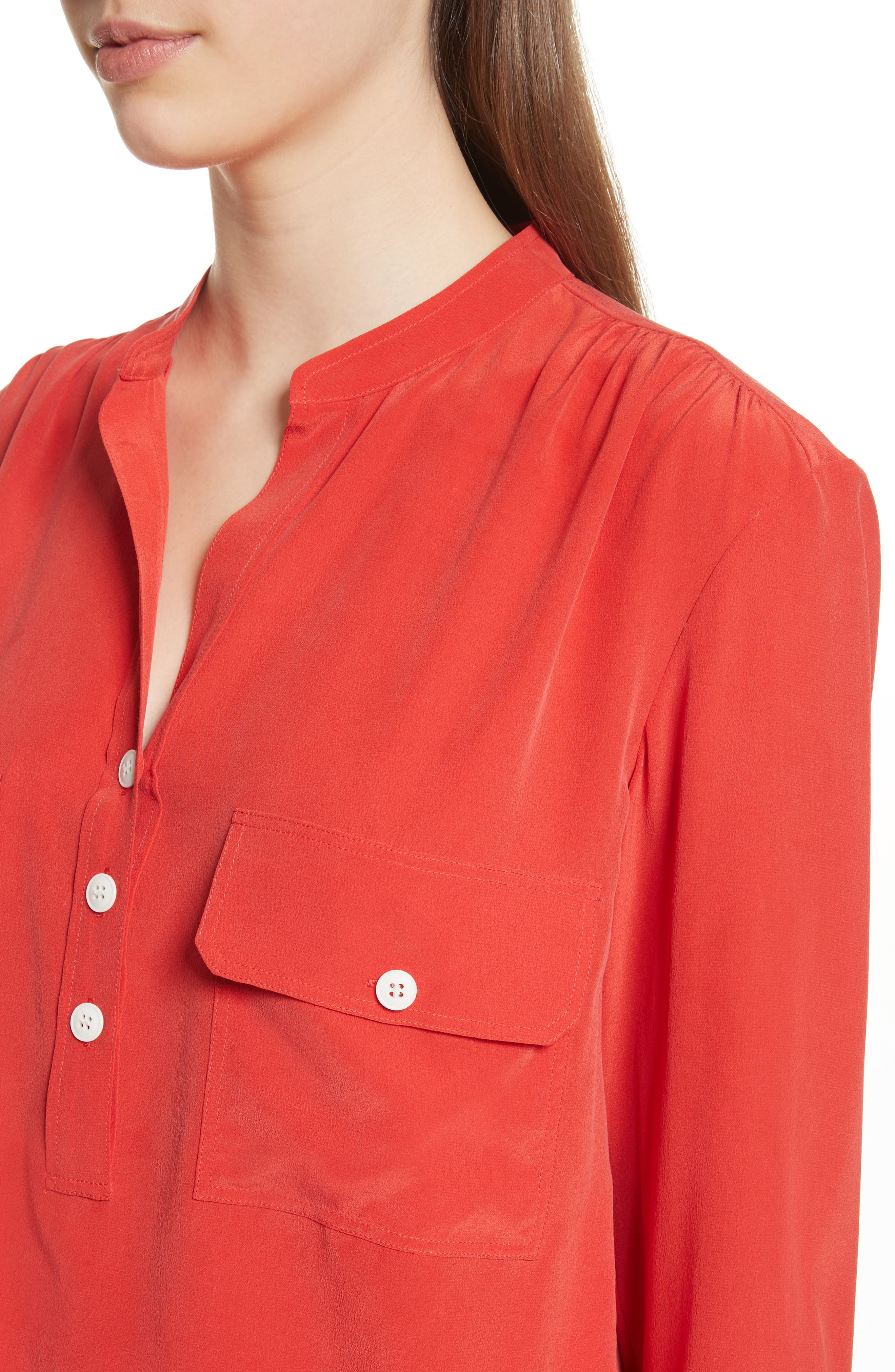 Utility Silk Blouse,                             Alternate thumbnail 4, color,                             Poppy