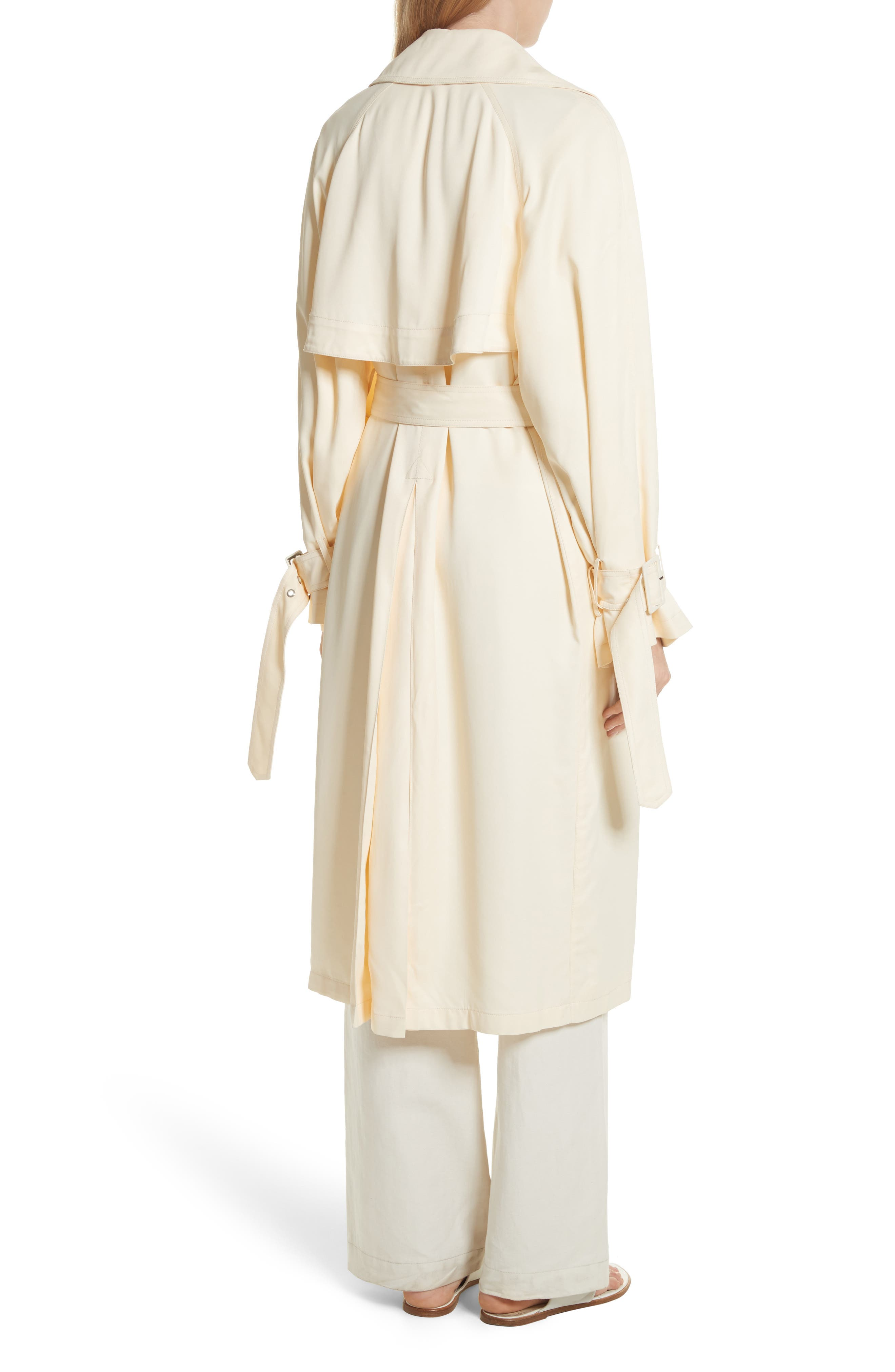 Drapey Trench Coat,                             Alternate thumbnail 2, color,                             Buttercream