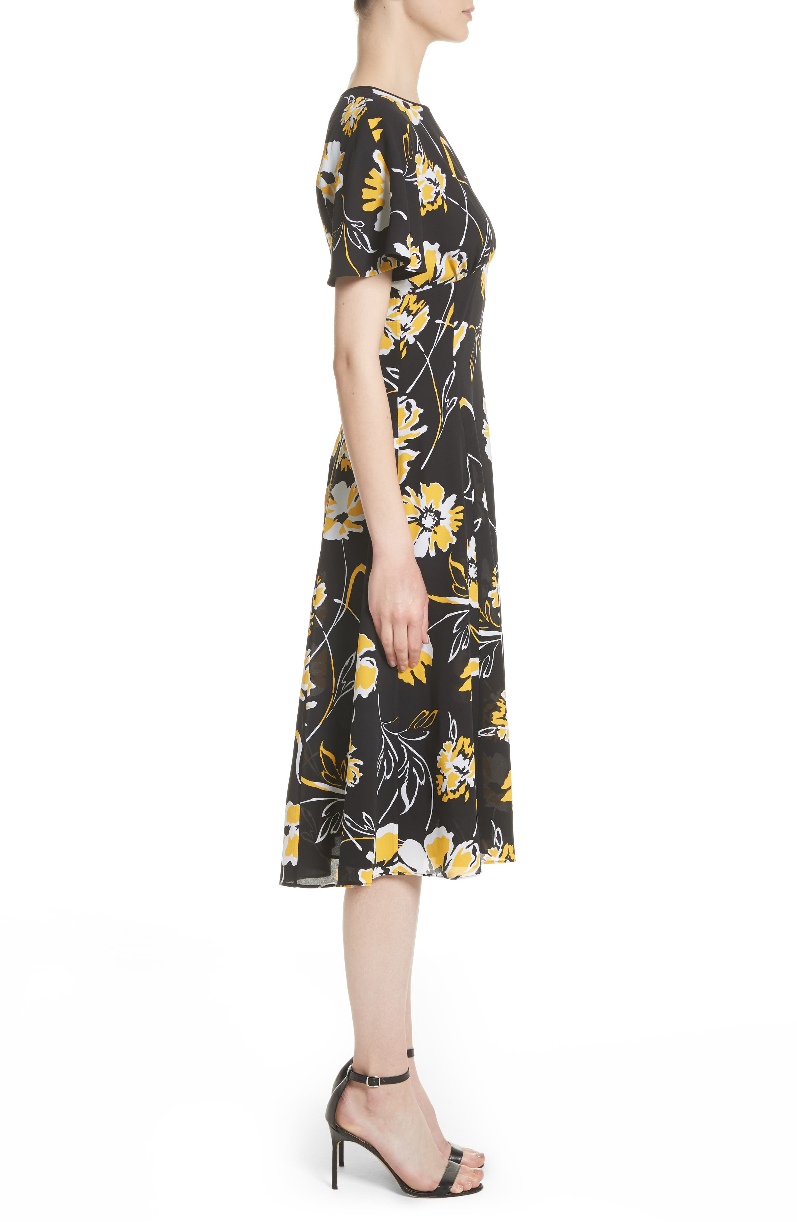 Floral Print Silk Flirt Dress,                             Alternate thumbnail 3, color,                             Lemon