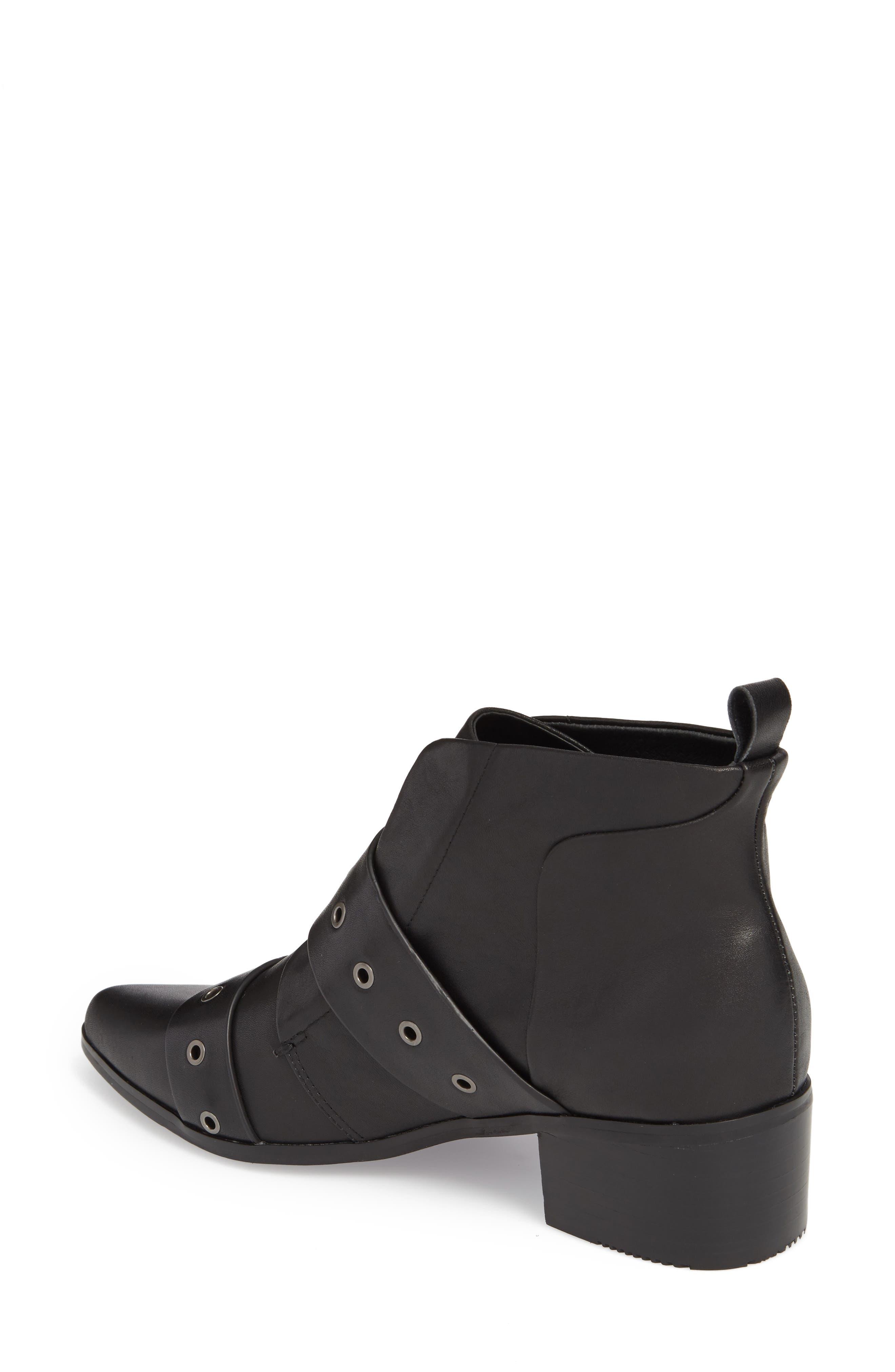 Buckle Strap Bootie,                             Alternate thumbnail 2, color,                             Black Leather