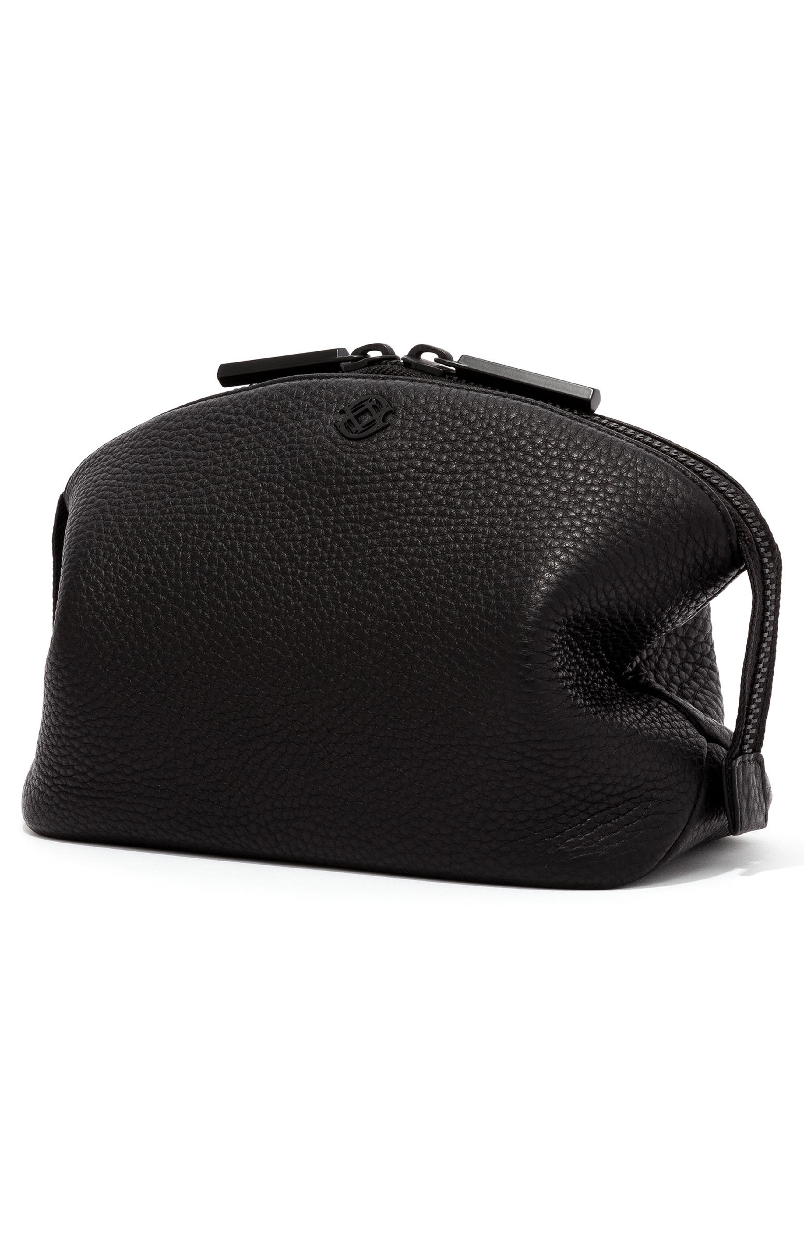 Large Lola Leather Cosmetics Pouch,                             Alternate thumbnail 4, color,                             Onyx