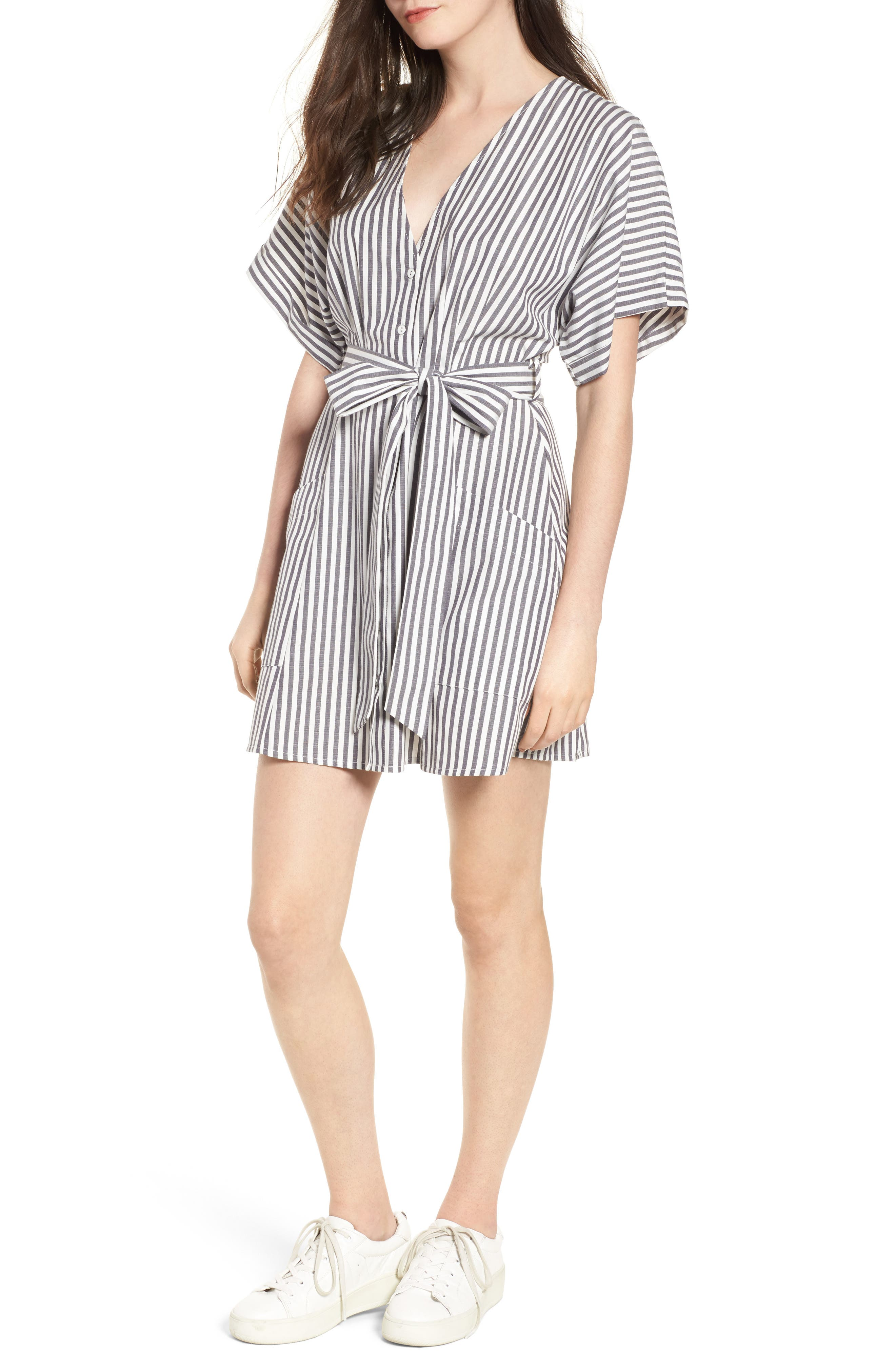 Button Front Dress,                             Main thumbnail 1, color,                             Black Jerry Stripe
