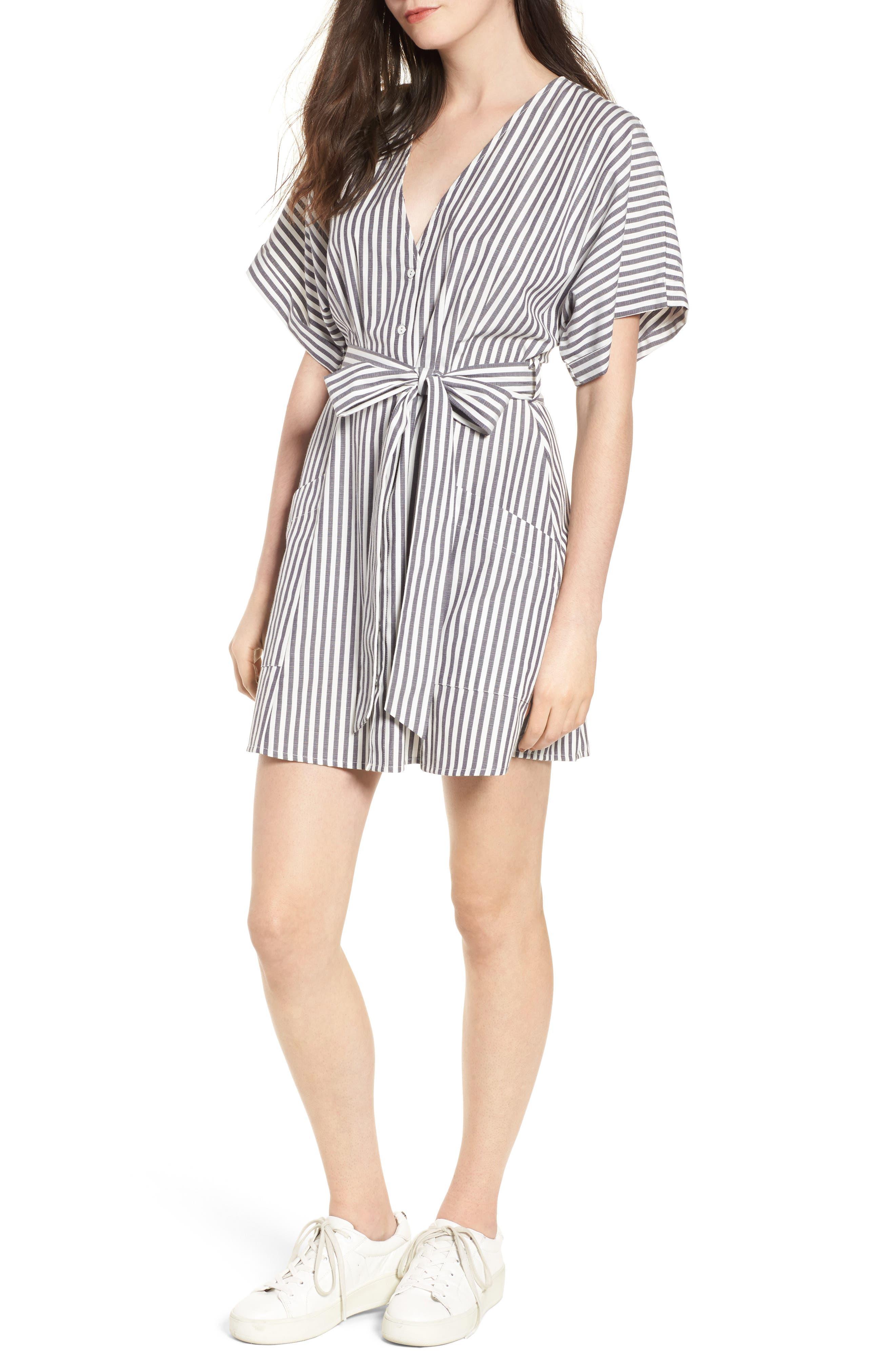Button Front Dress,                         Main,                         color, Black Jerry Stripe
