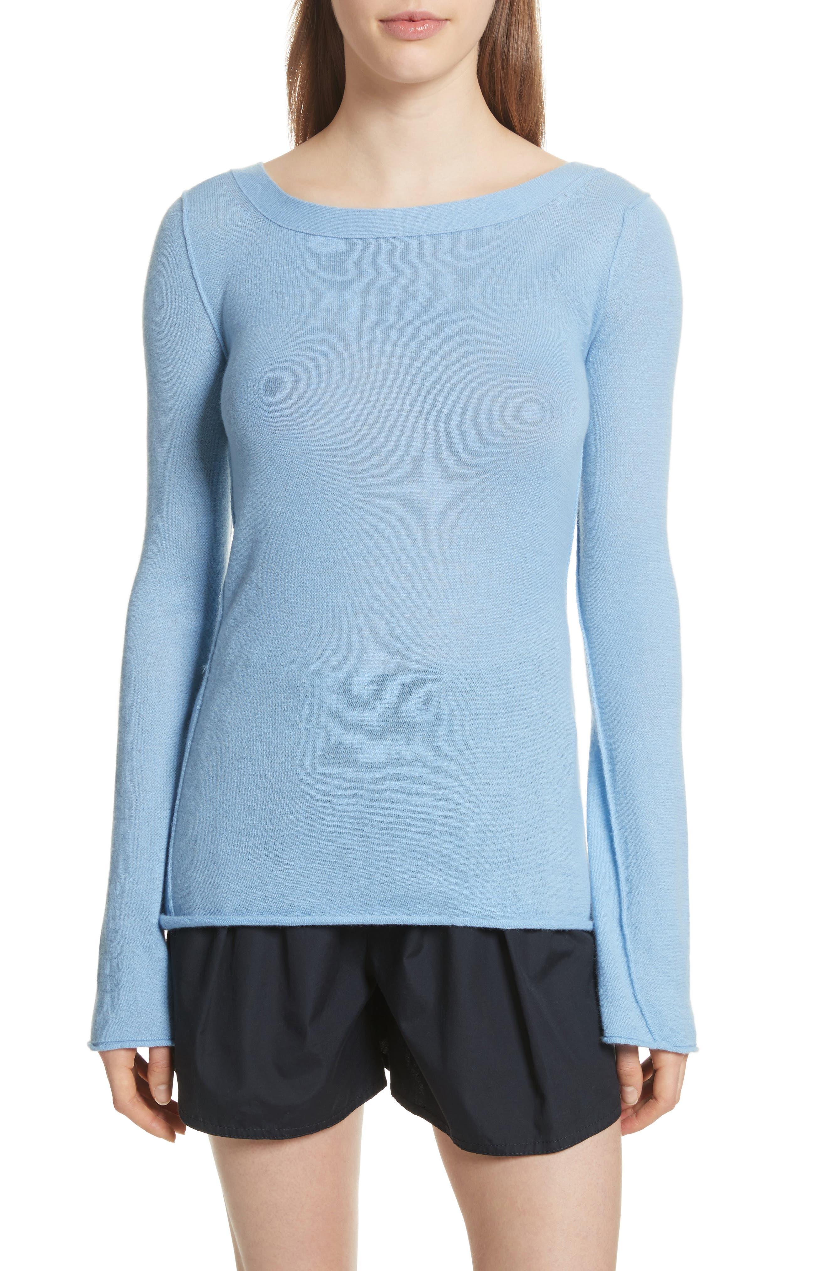 Cashmere V-Back Cashmere Sweater,                         Main,                         color, Delft