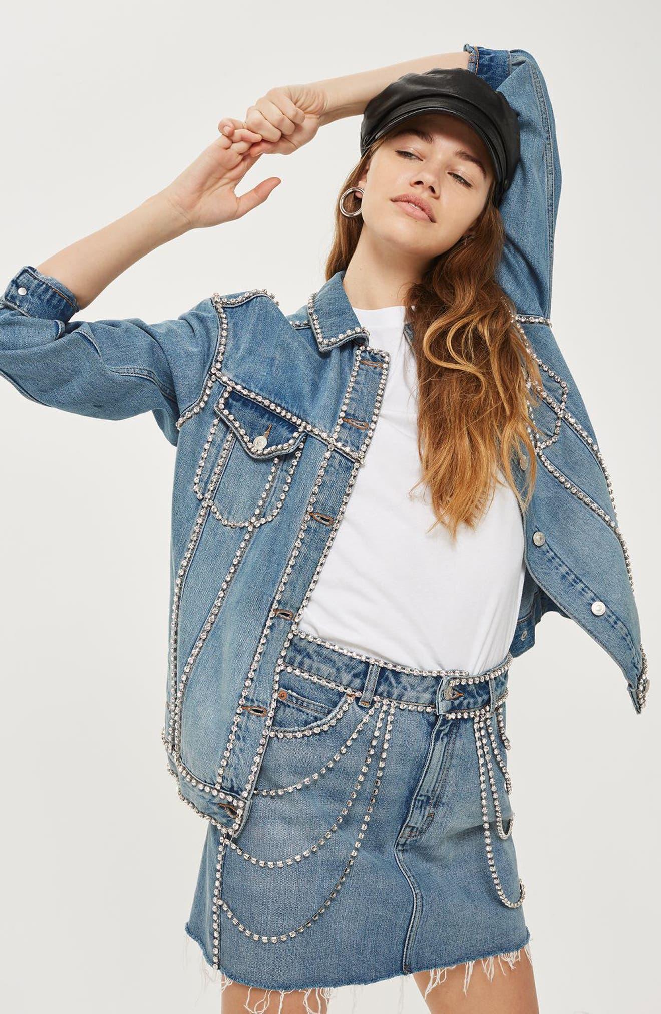 Alternate Image 2  - Topshop Oversize Crystal Seam Denim Jacket