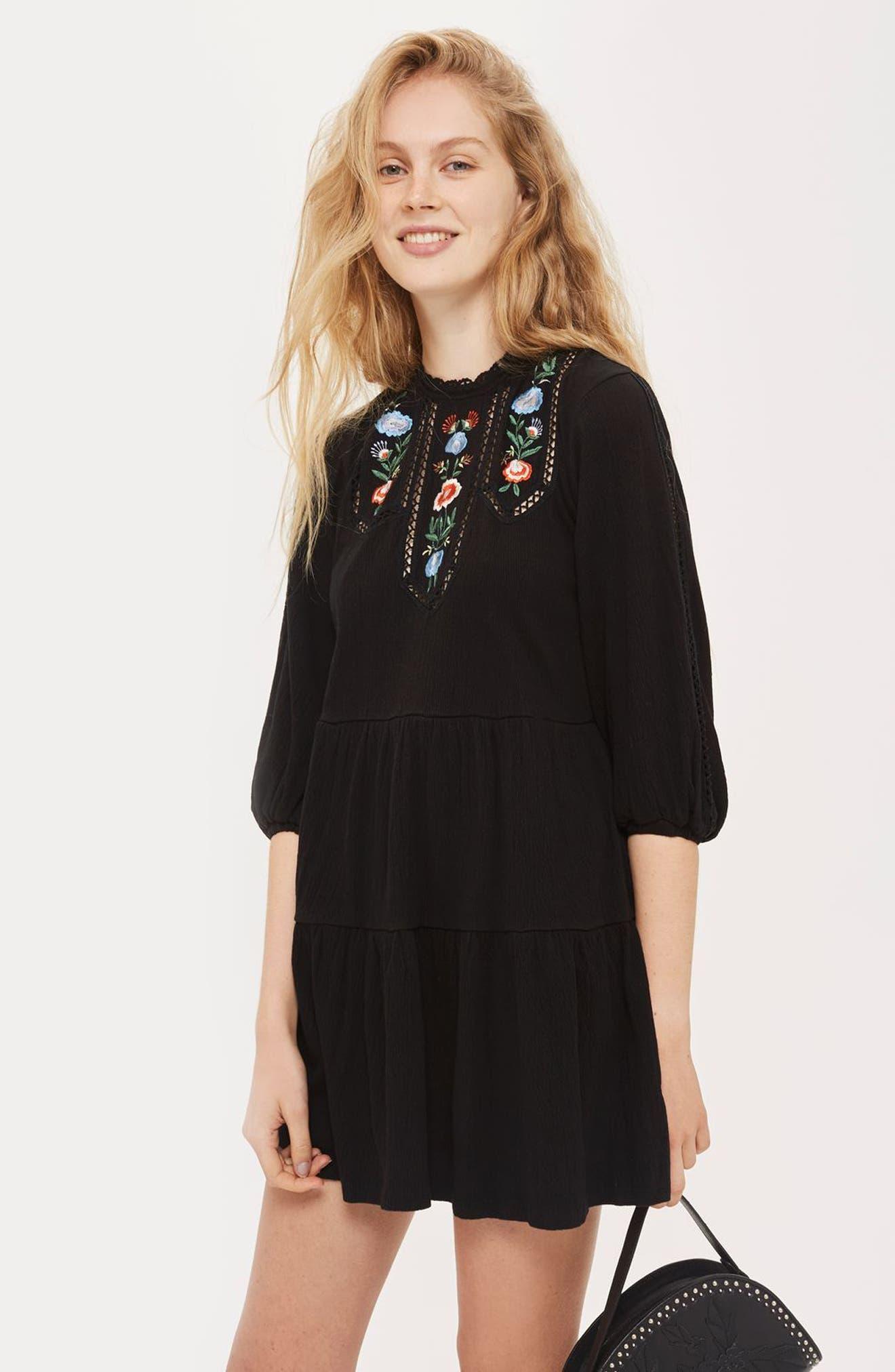 Embroidered Smock Dress,                             Alternate thumbnail 5, color,                             Black Multi