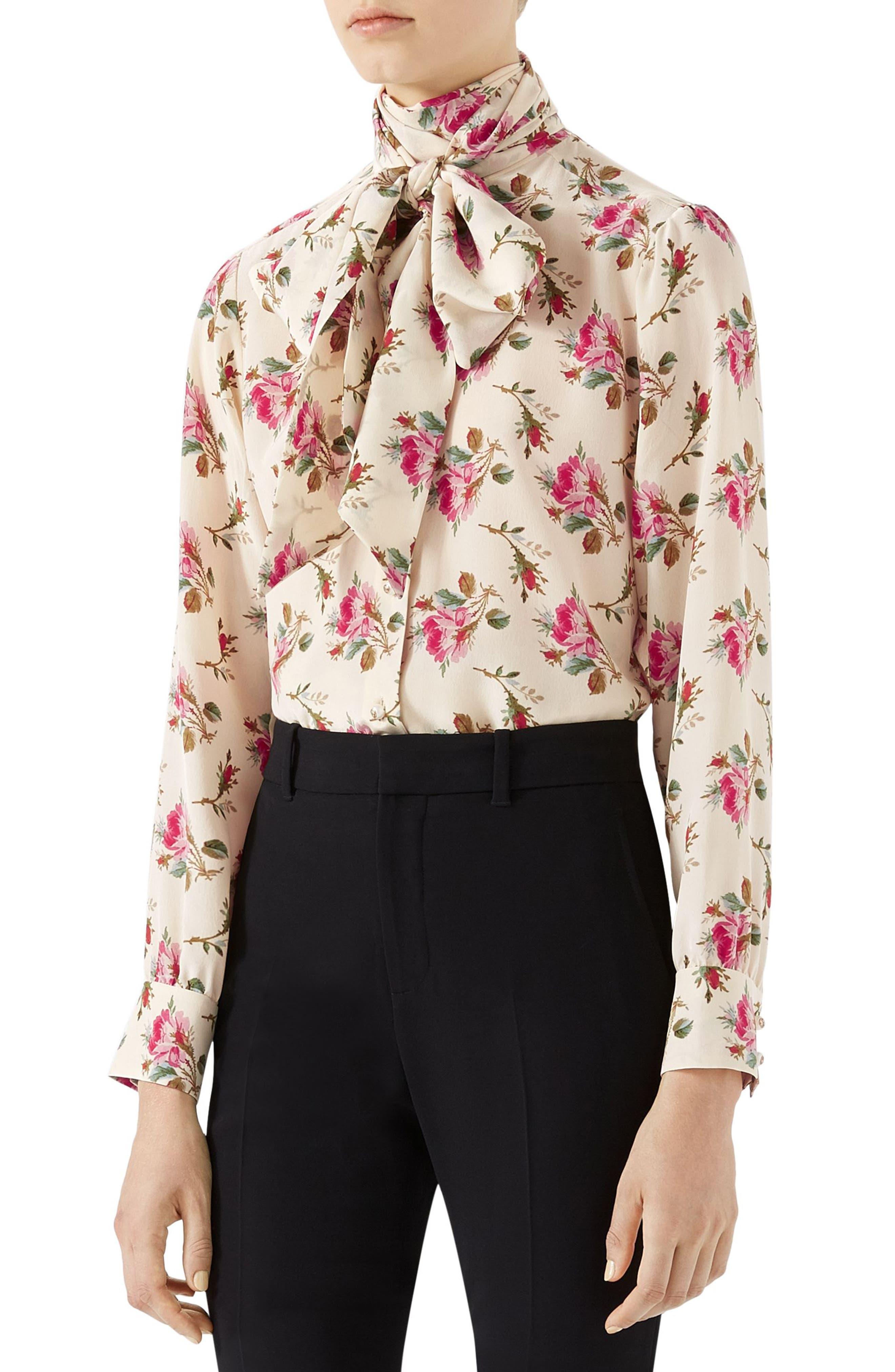 Rose Print Silk Tie Neck Blouse,                         Main,                         color, Ivory Print/ Multi Print