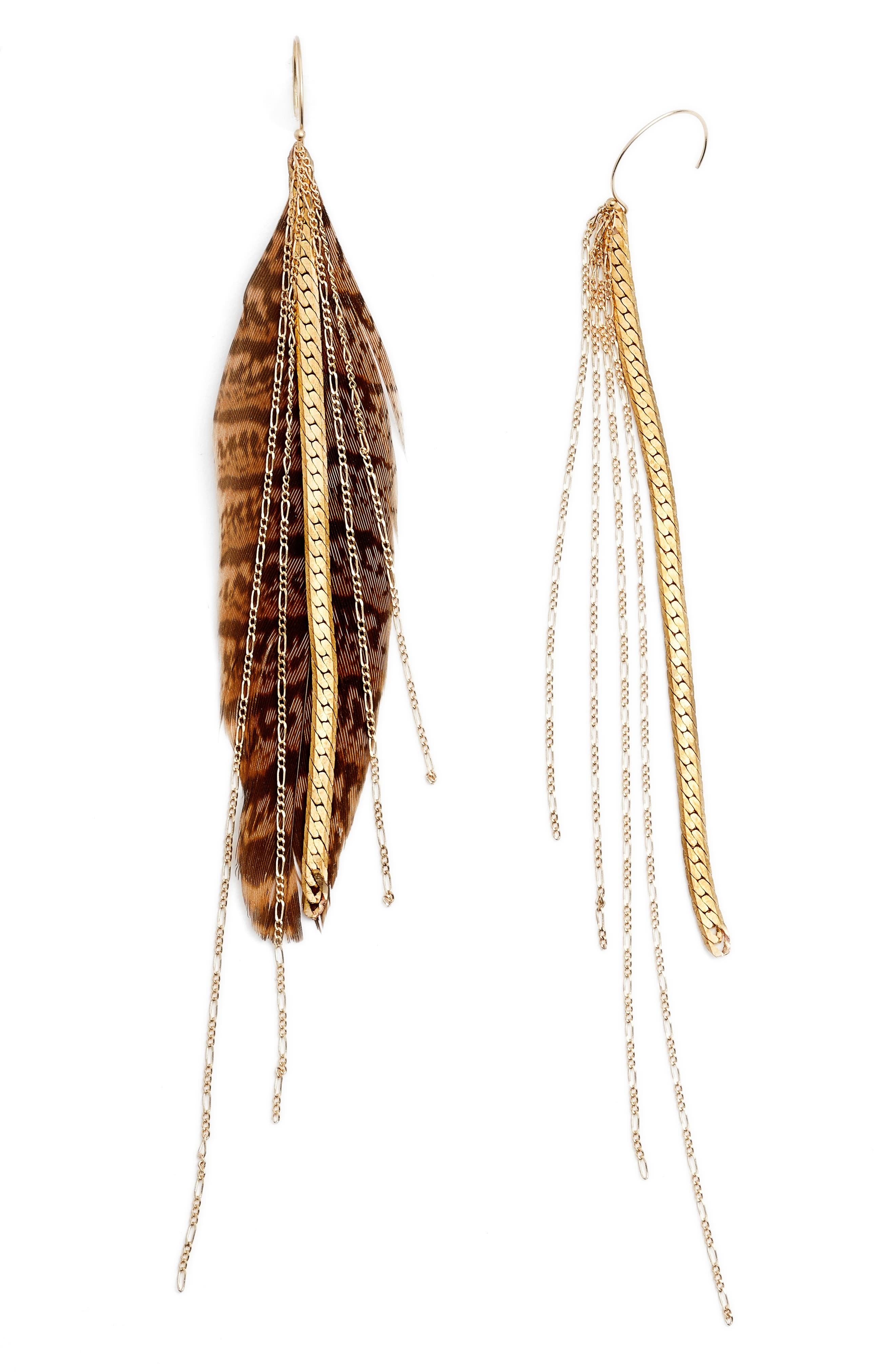 Chain & Feather Earrings,                             Main thumbnail 1, color,                             Gold/ Tan