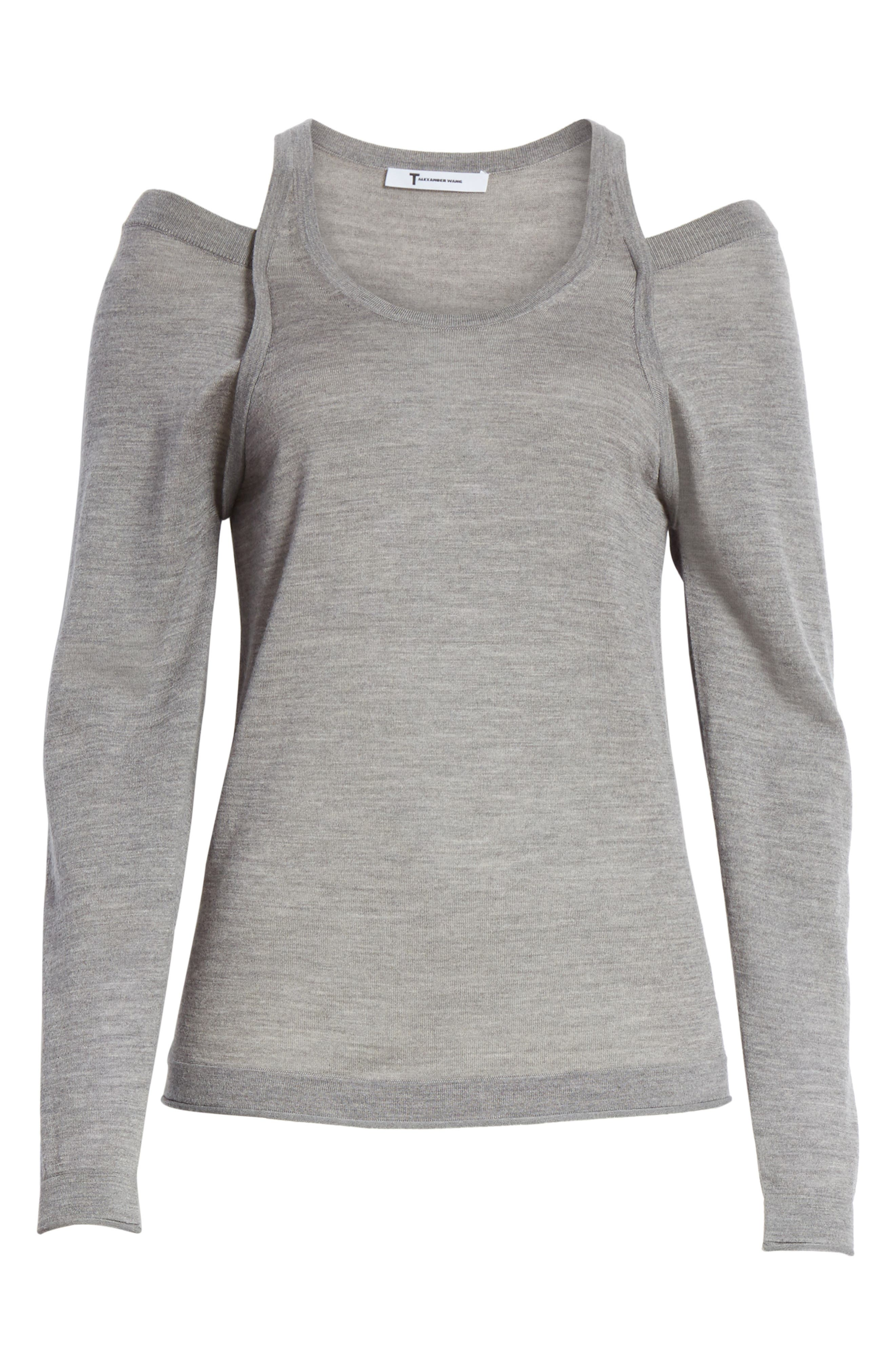 Wash & Go Cold Shoulder Merino Wool Sweater,                             Alternate thumbnail 6, color,                             Heather Grey