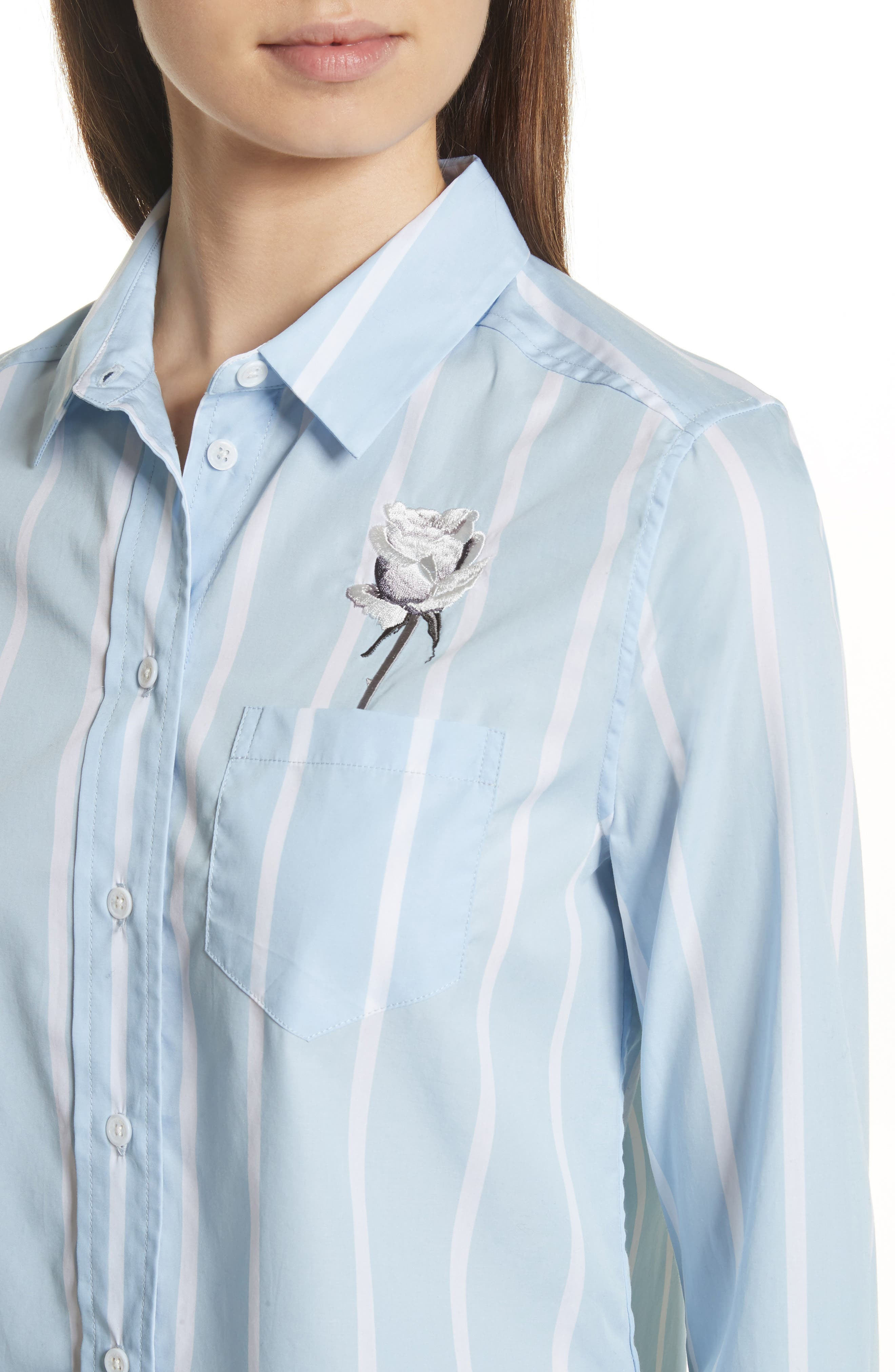 Huntley Embroidered Stripe Cotton Shirt,                             Alternate thumbnail 4, color,                             Skylight / Bright White