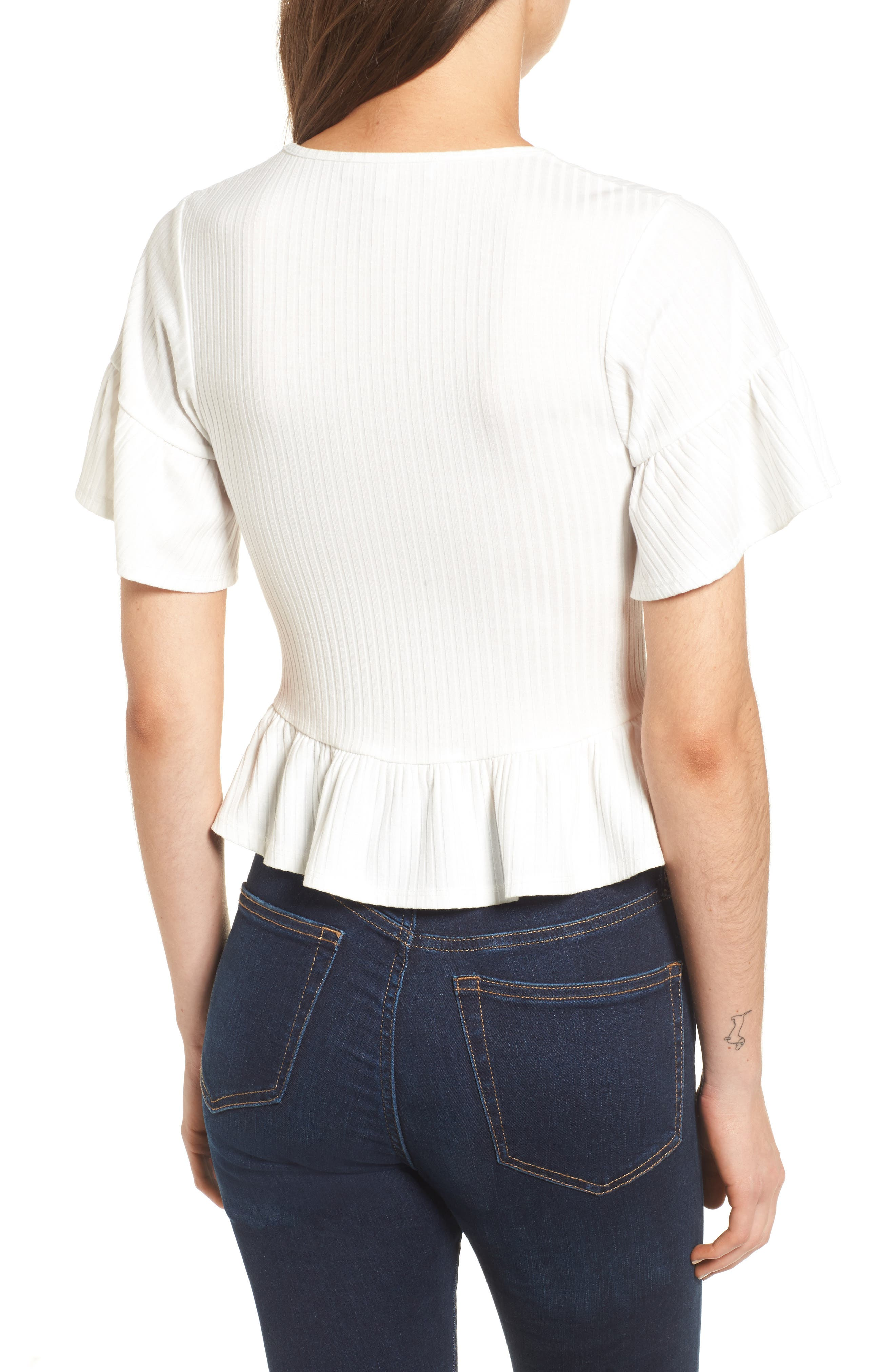 Lace-Up Tee,                             Alternate thumbnail 2, color,                             White