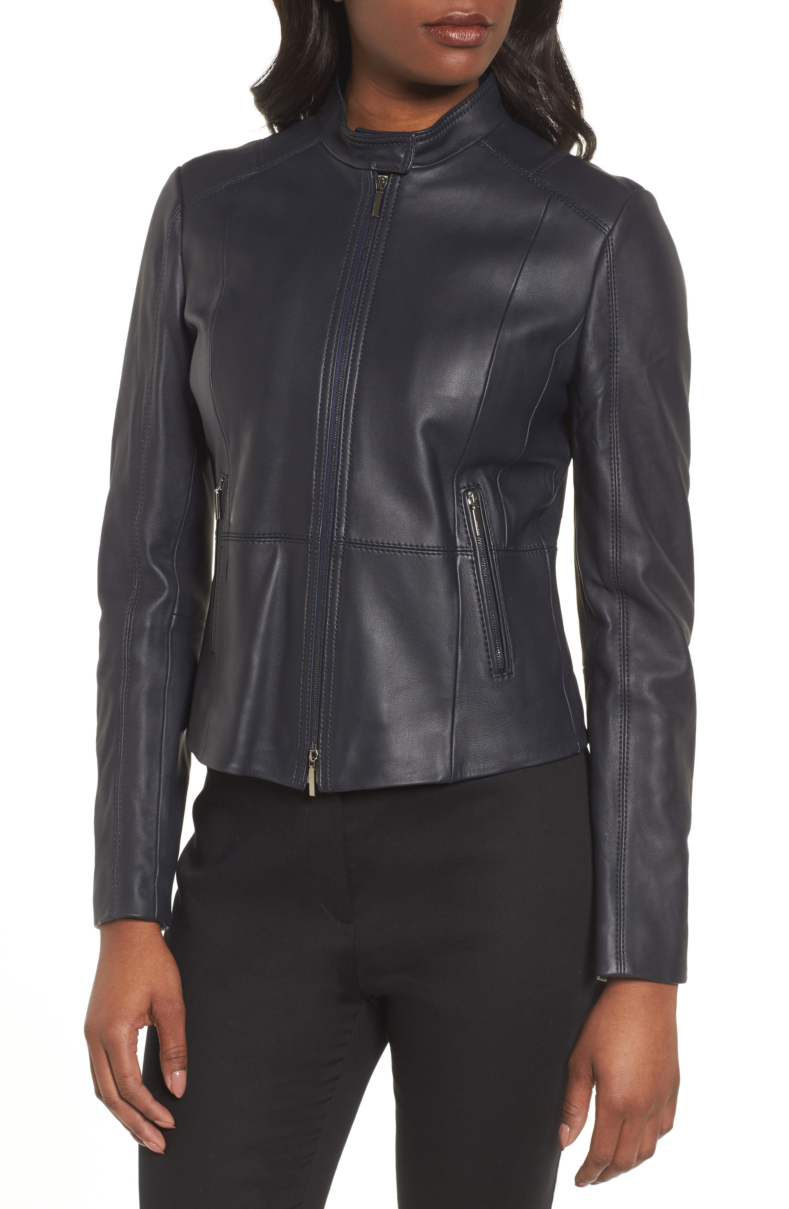 Sammonaie Leather Jacket,                             Alternate thumbnail 4, color,                             Navy