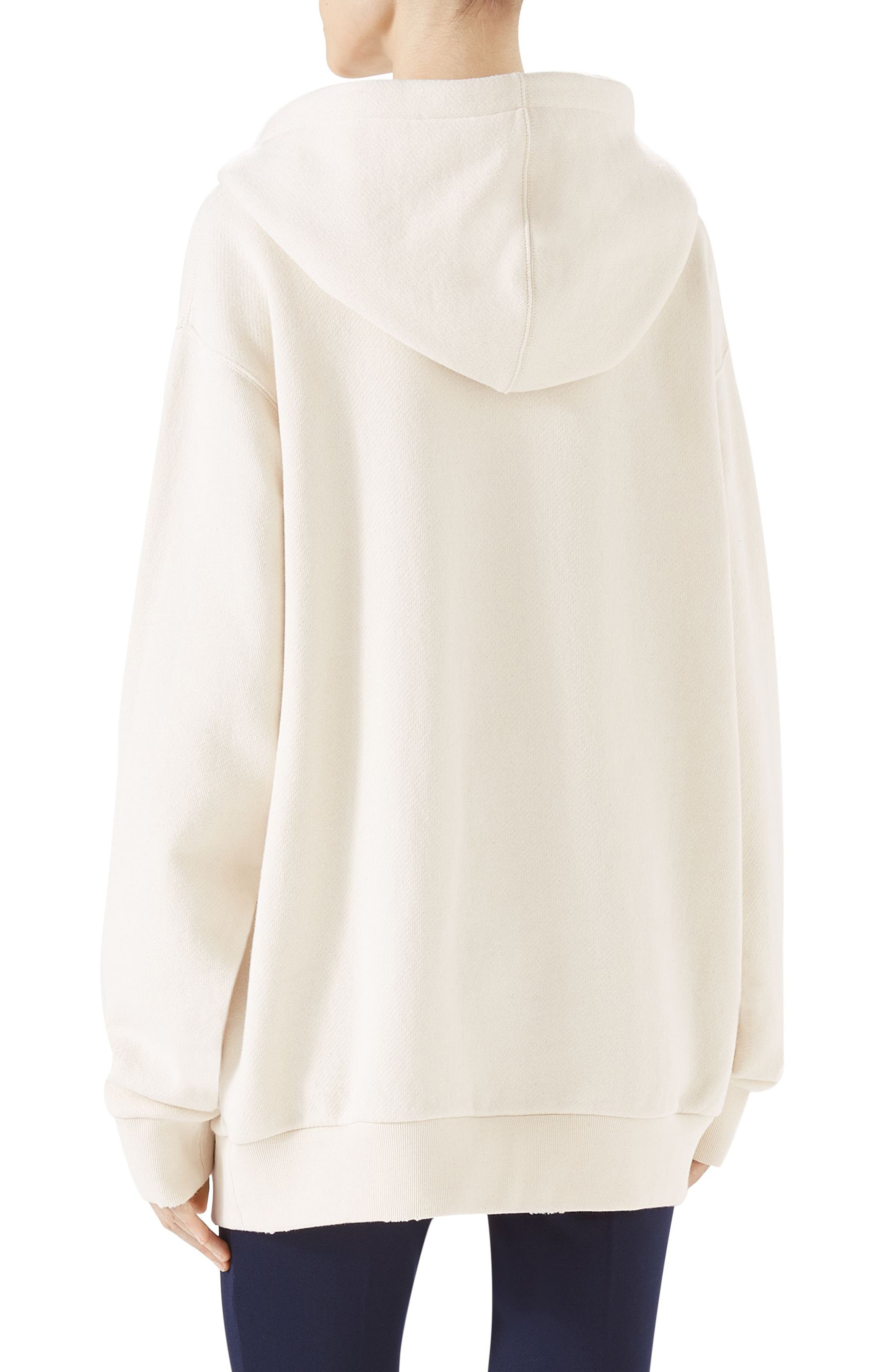 Guccify Yourself Snake Print Hooded Sweatshirt,                             Alternate thumbnail 2, color,                             Ivory/ Red