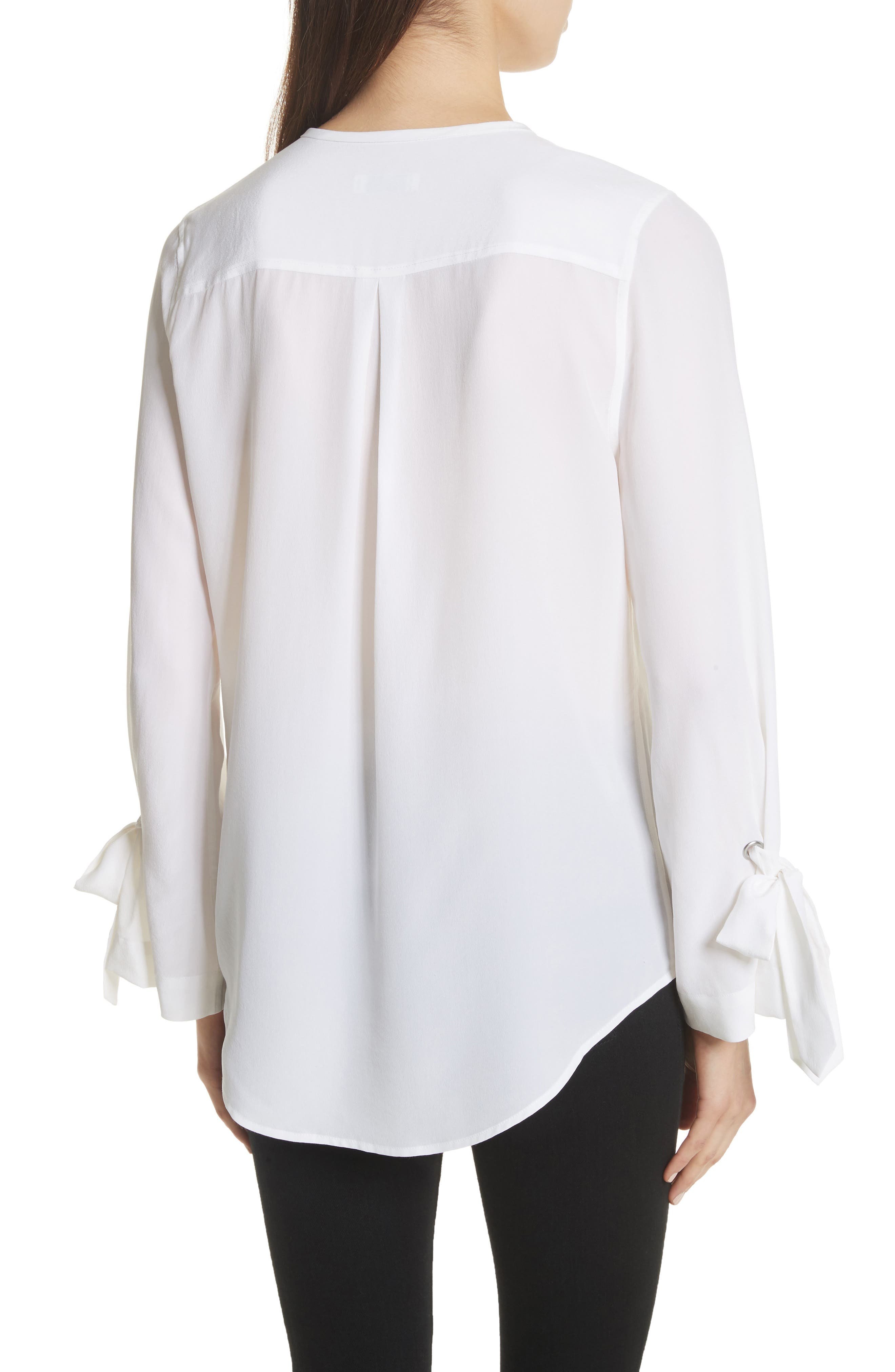 Sayer Tie Sleeve Silk Top,                             Alternate thumbnail 2, color,                             Bright White