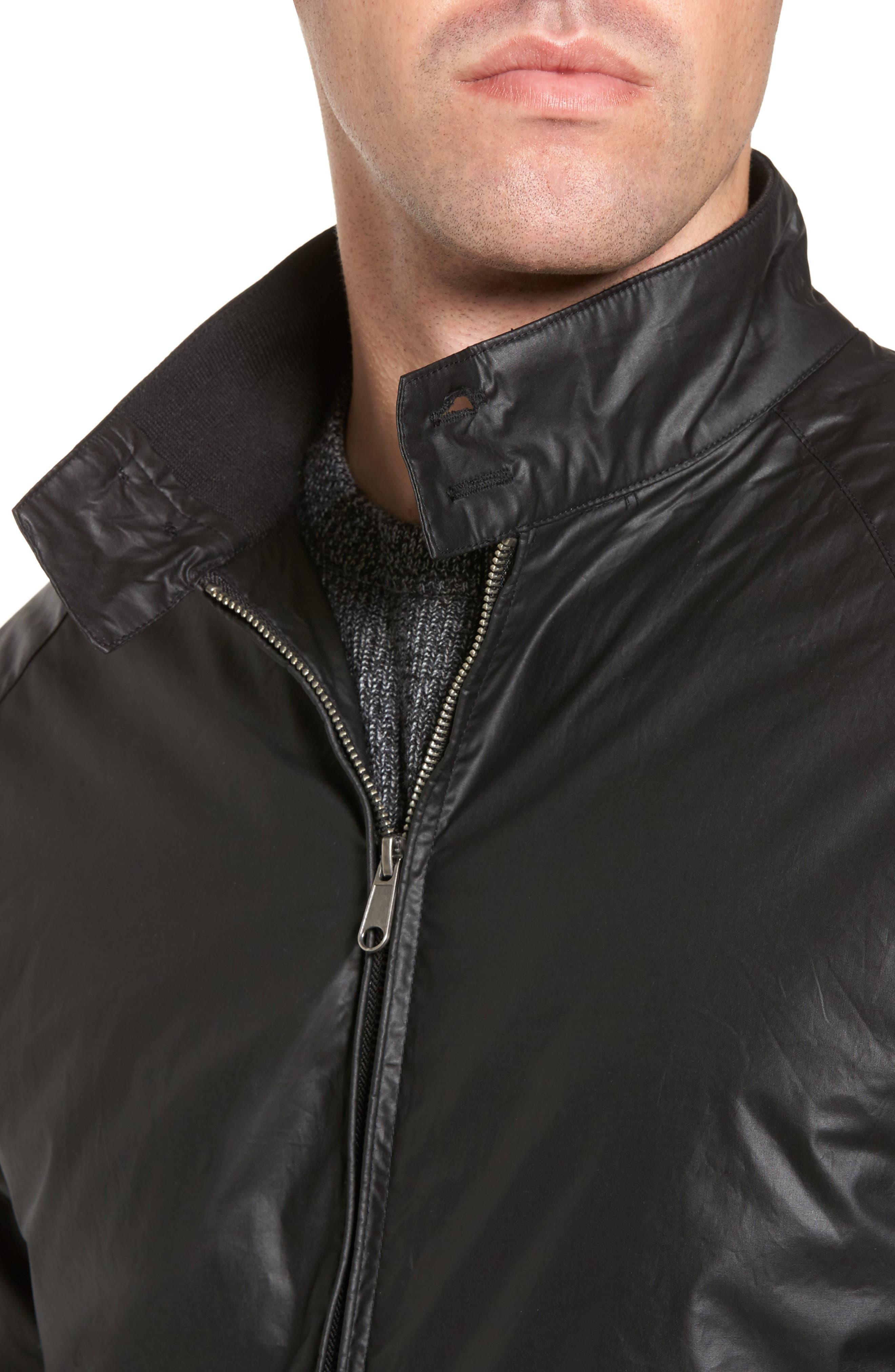 Insulated Harrington Jacket,                             Alternate thumbnail 4, color,                             Black