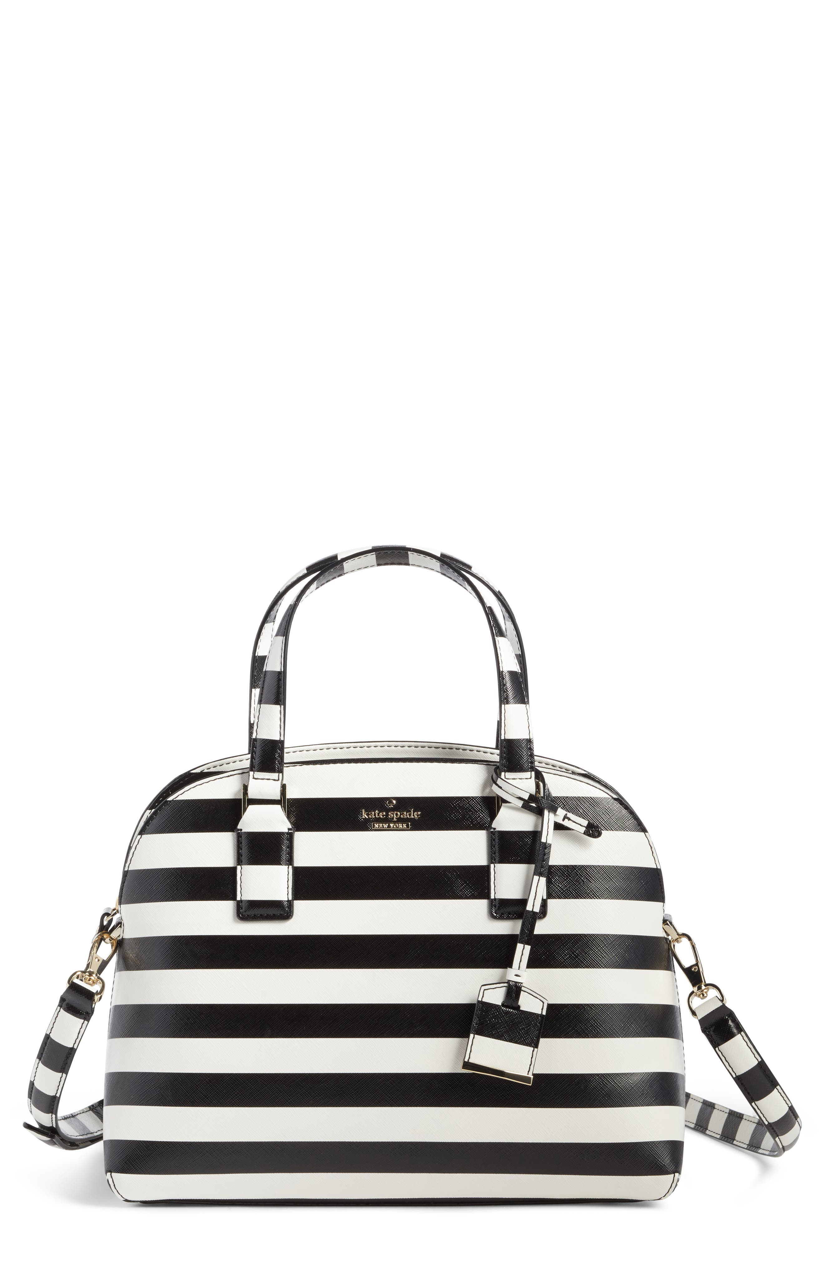 cameron street - lottie stripe satchel,                         Main,                         color, Black/ Cream