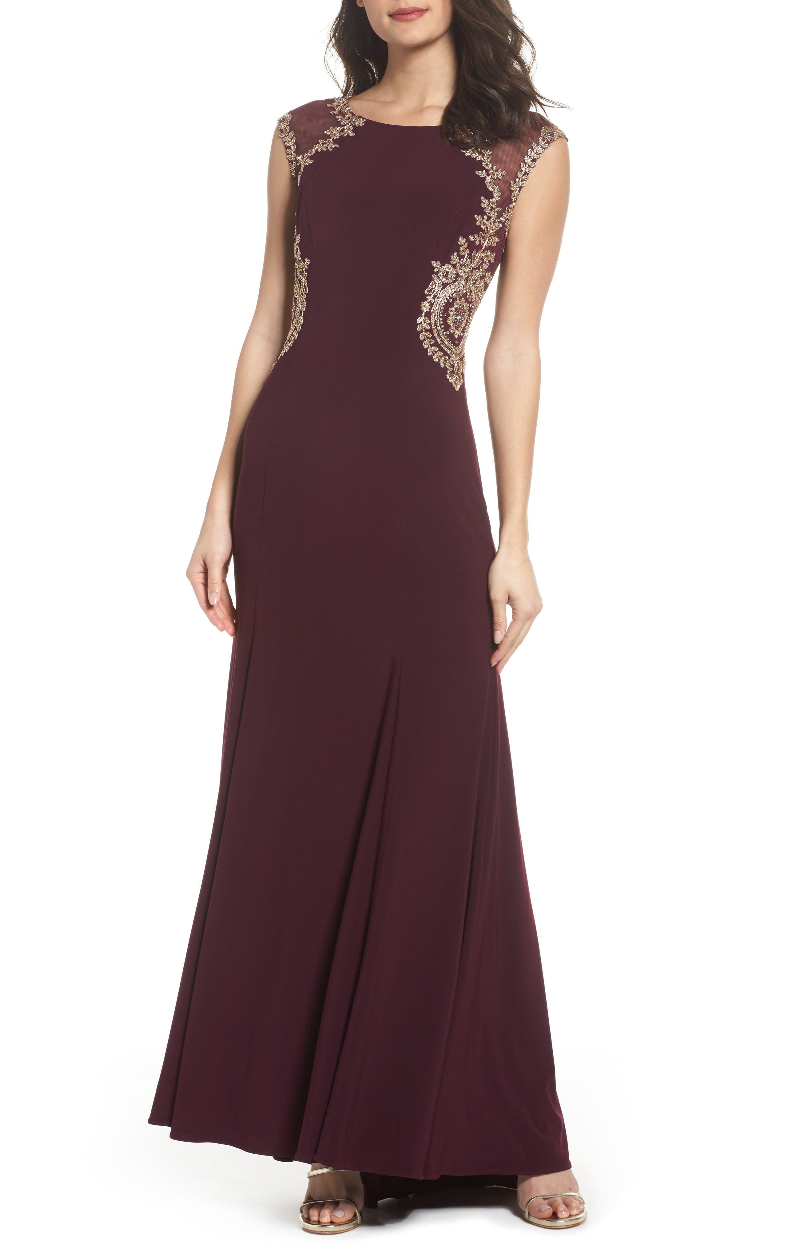 Main Image - Xscape Embellished Jersey Gown (Regular & Petite)