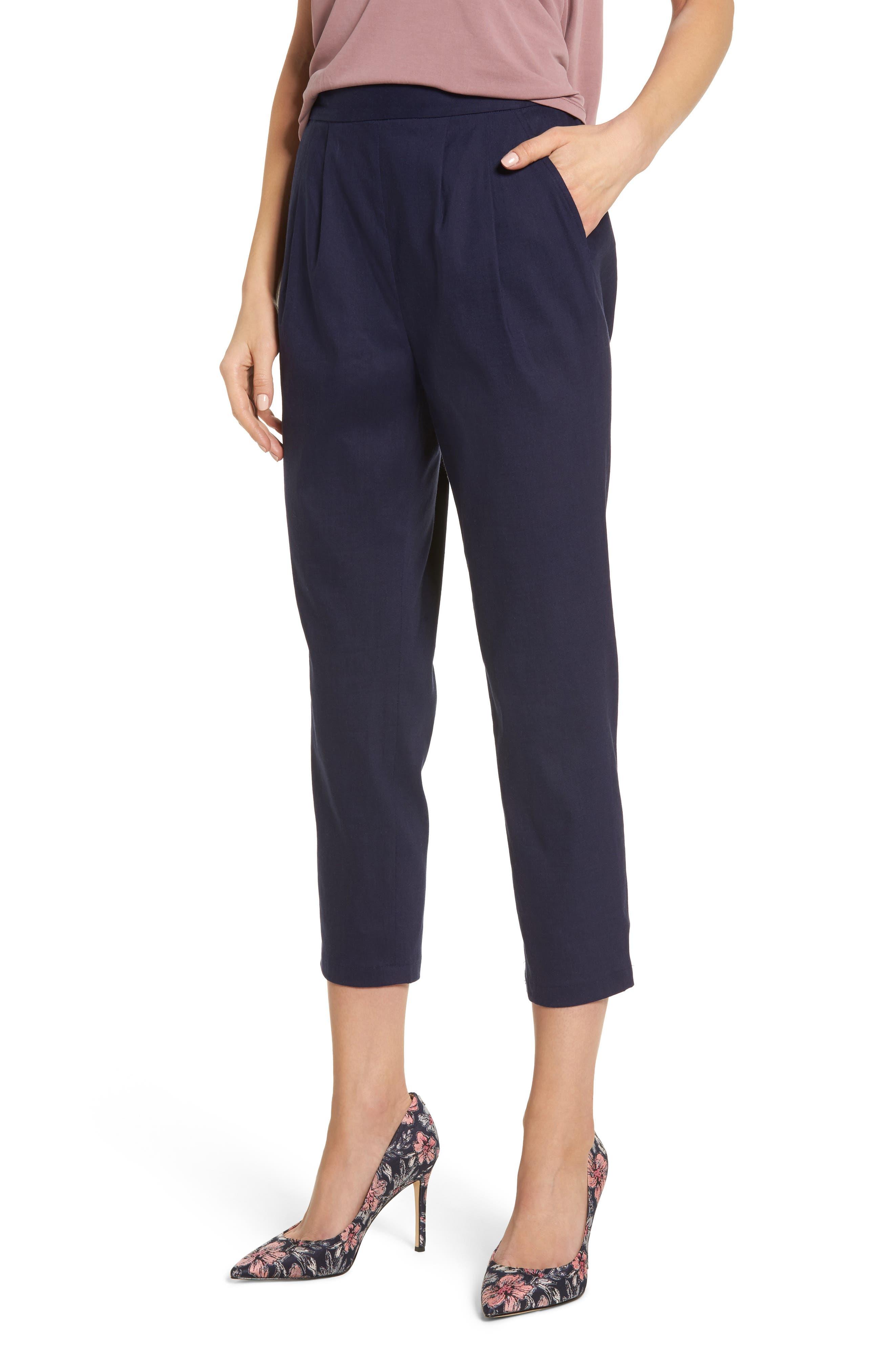 Pleat Front Crop Pants,                         Main,                         color, Navy Evening