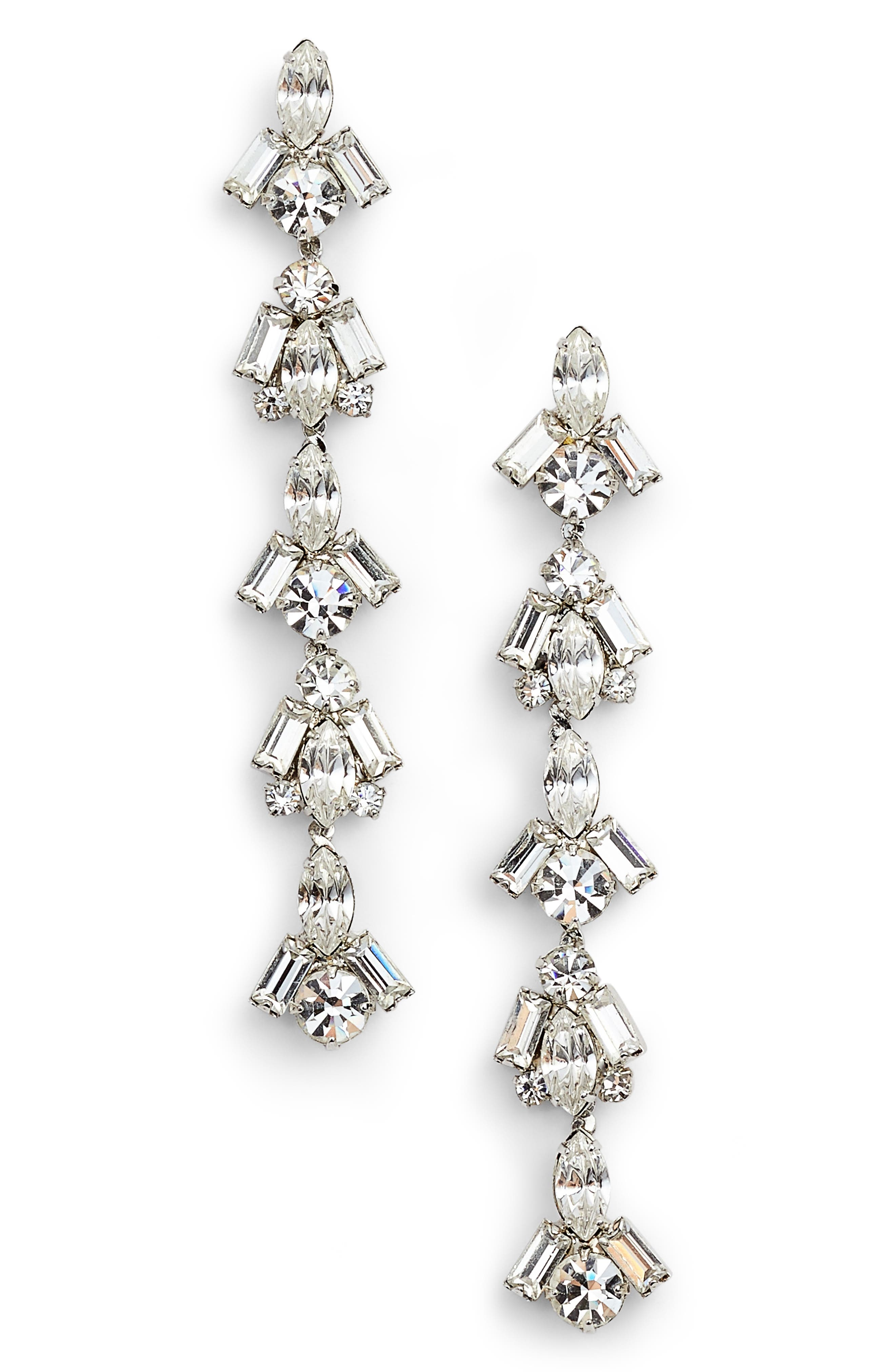 Crystal Linear Drop Earrings,                             Main thumbnail 1, color,                             Silver