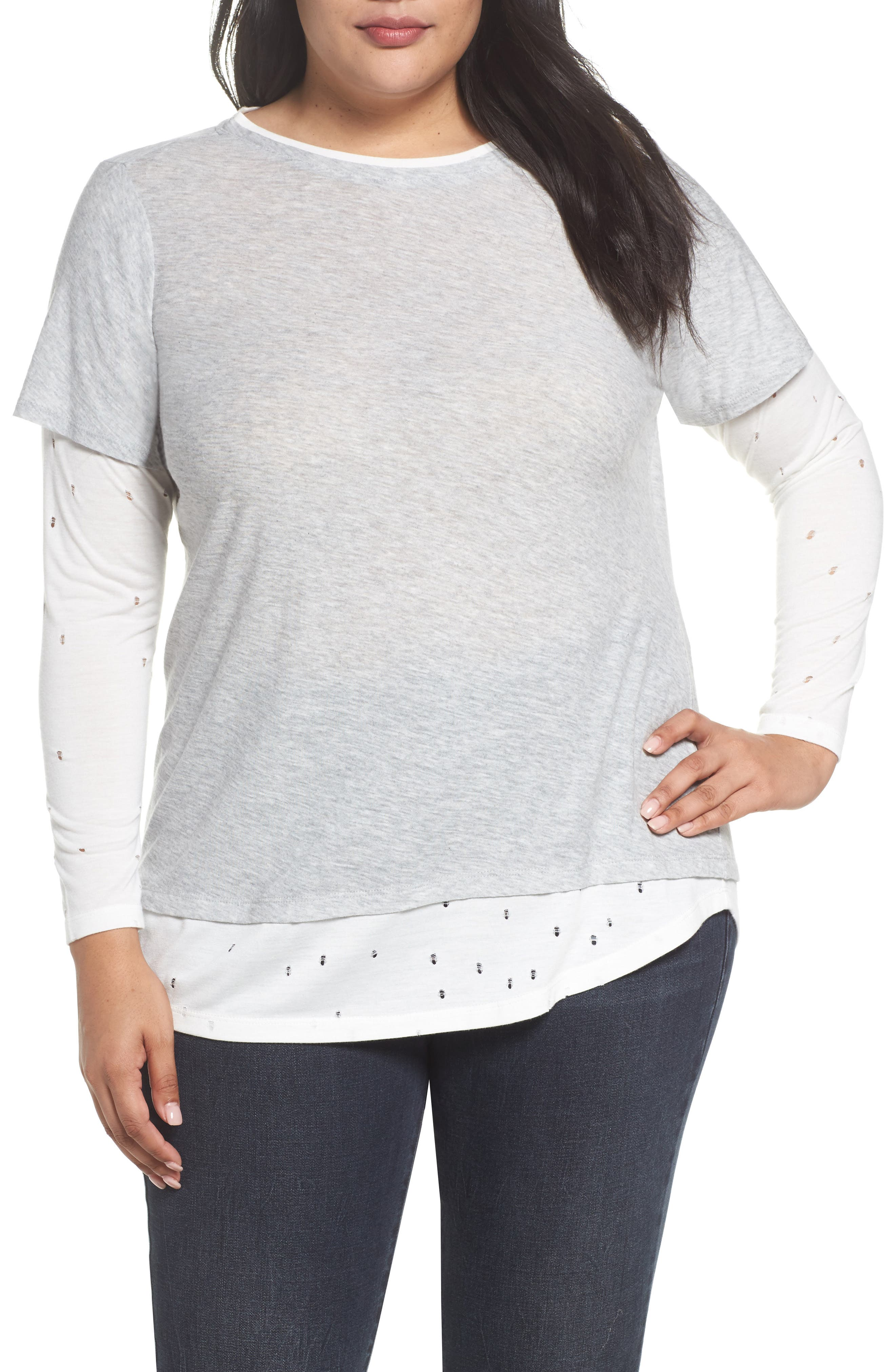 Two by Vince Camuto Distressed Layered Look Top (Plus Size)