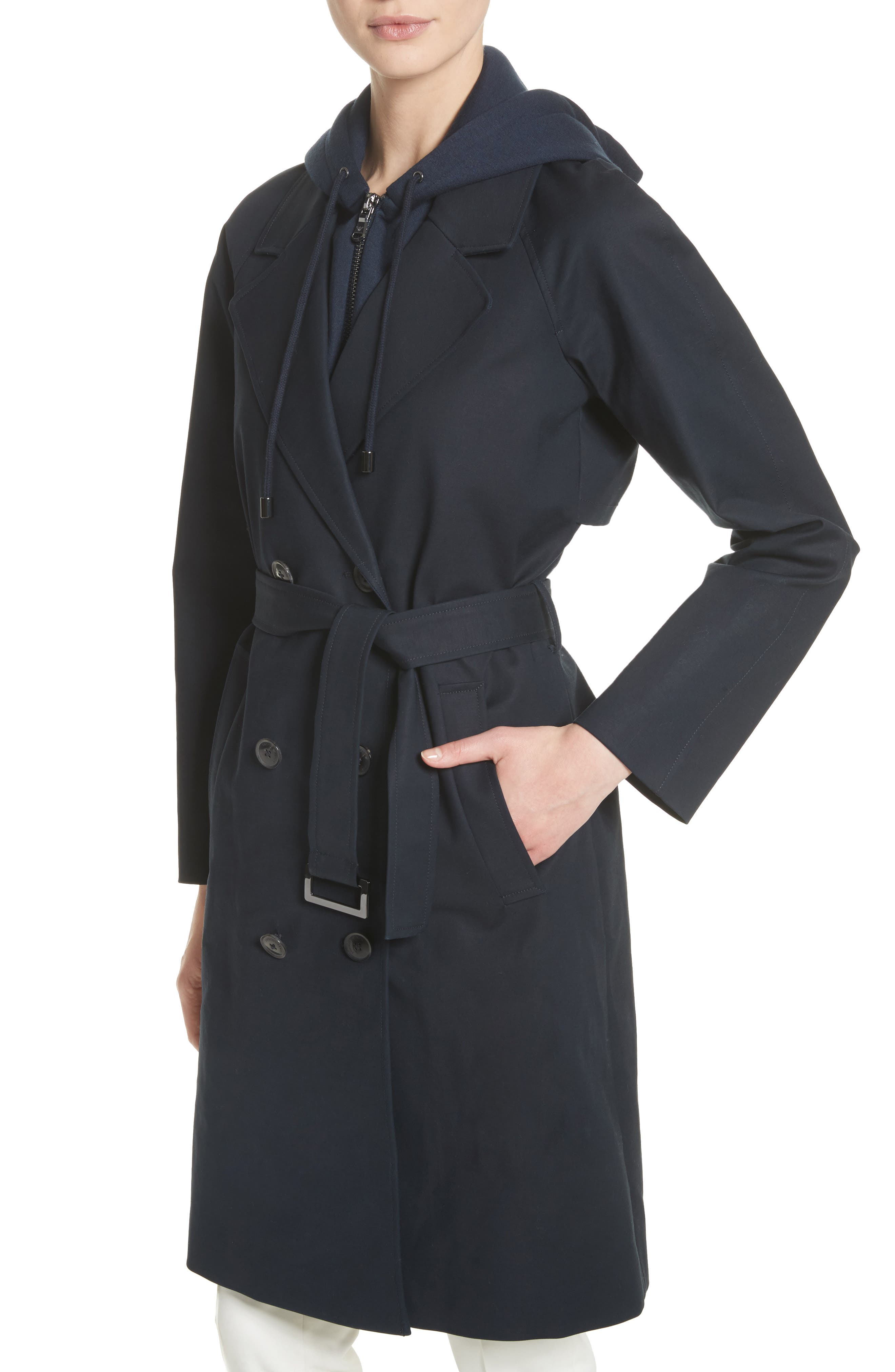 Alternate Image 3  - Emporio Armani Double Breasted Cotton Blend Trench Coat with Removable Hoodie Inset