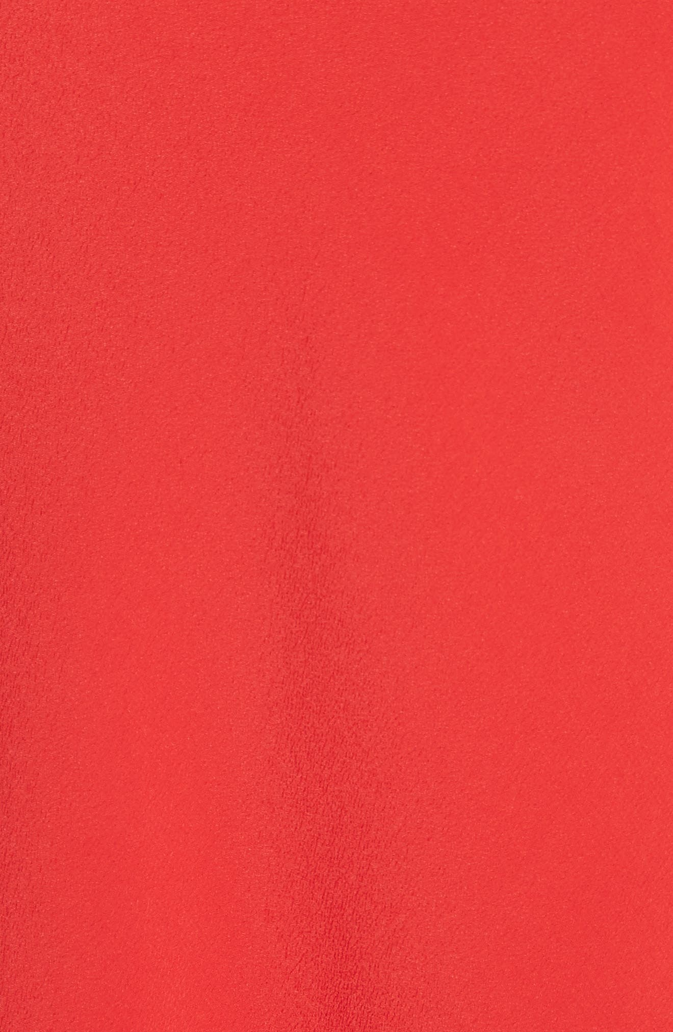 Ruffle Trim A-Line Dress,                             Alternate thumbnail 5, color,                             Red