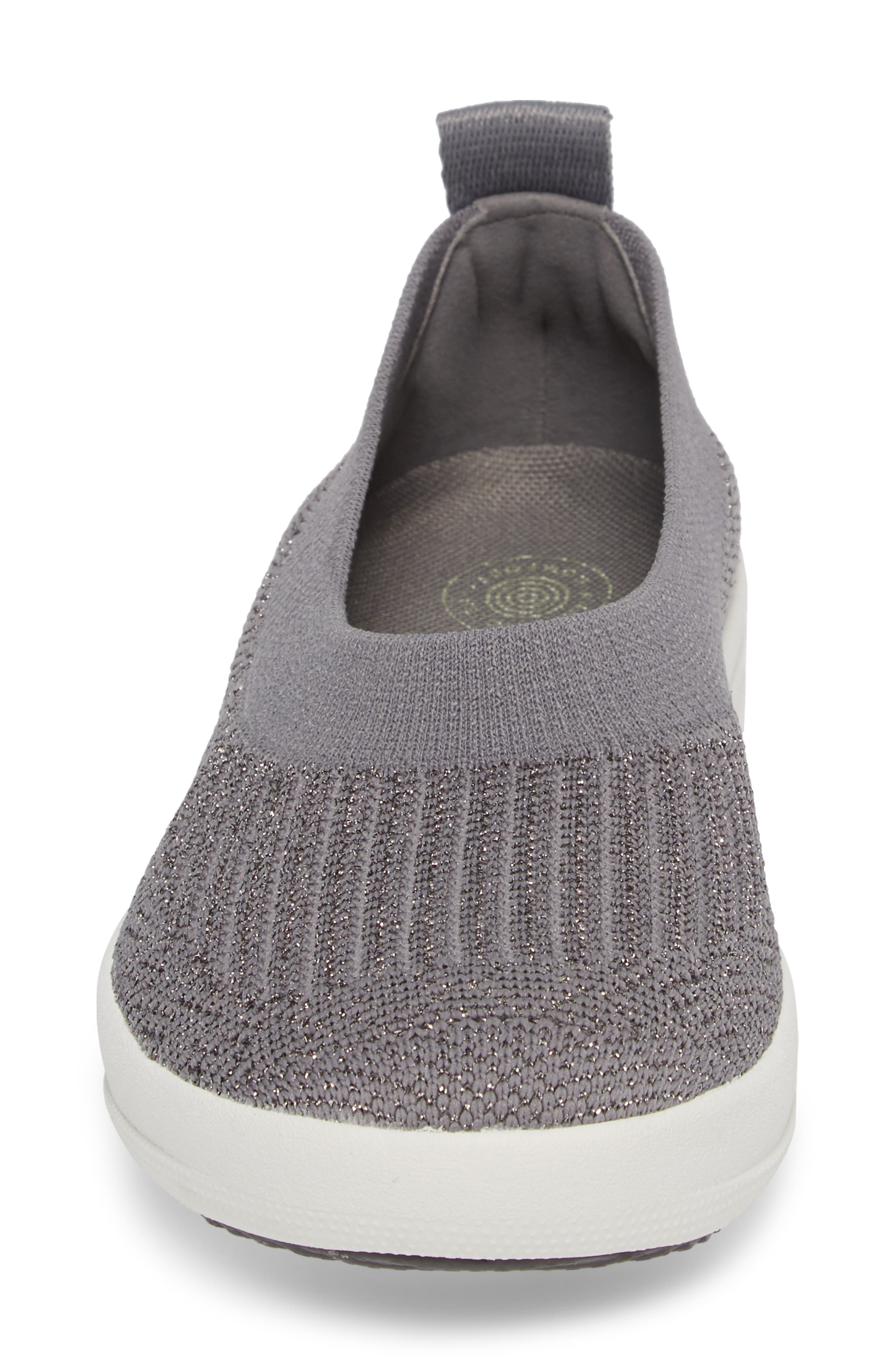 Uberknit<sup>™</sup> Slip-On Ballerina Sneaker,                             Alternate thumbnail 4, color,                             Charcoal/ Metallic Pewter