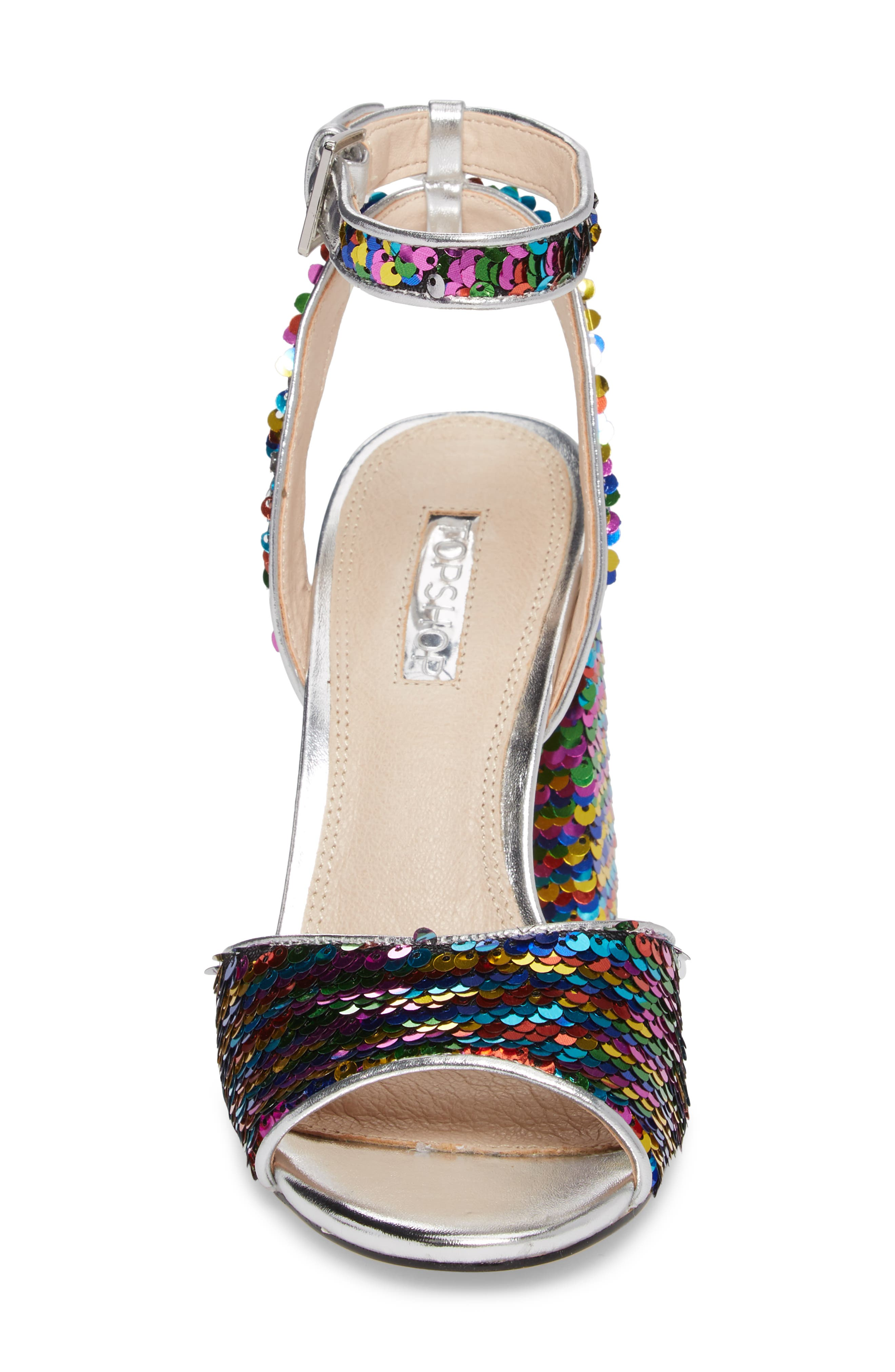 Reaction Sequin Block Heel Sandal,                             Alternate thumbnail 4, color,                             Silver Multi